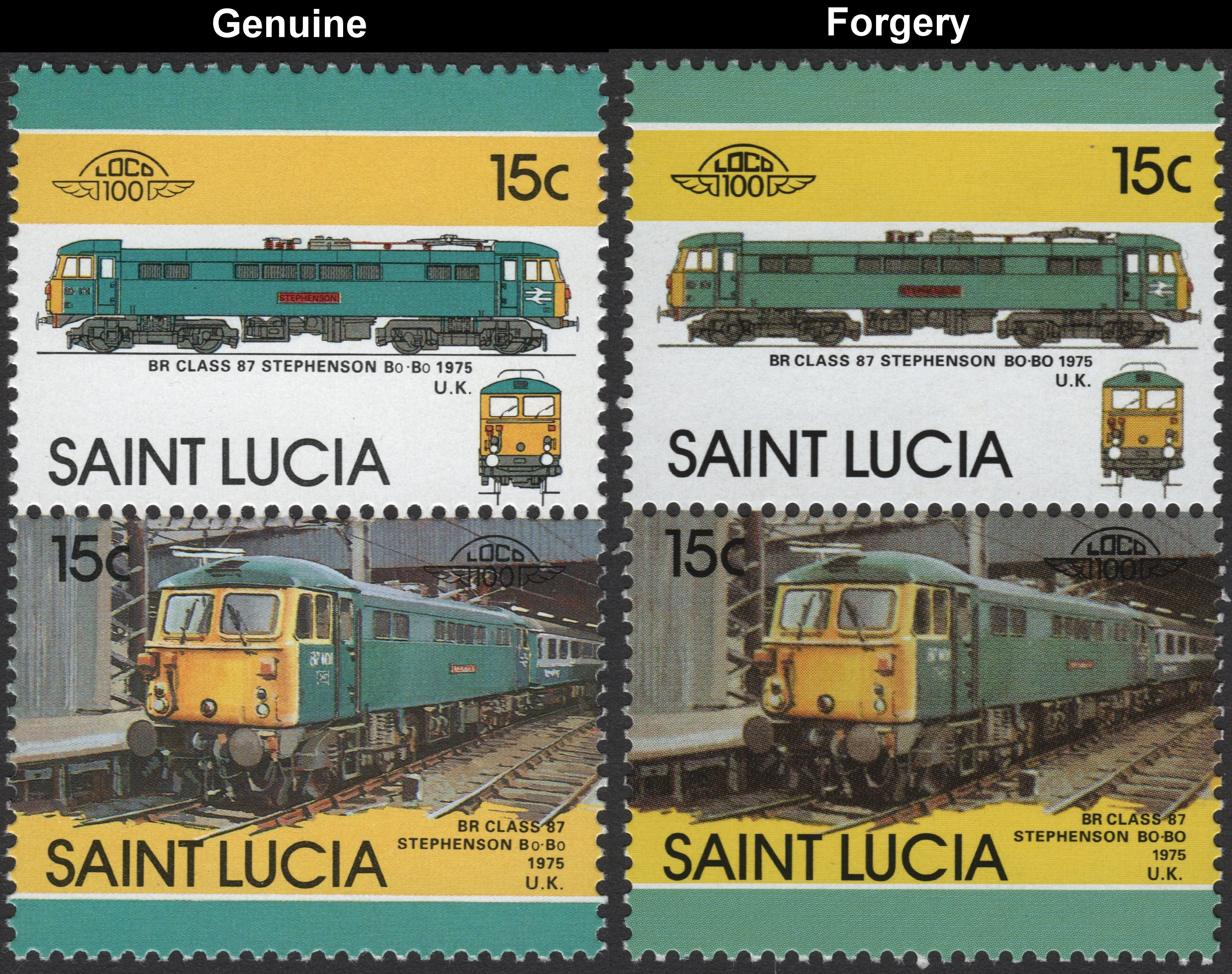 Saint Lucia 1986 Locomotives 5th Series Stamp Forgeries