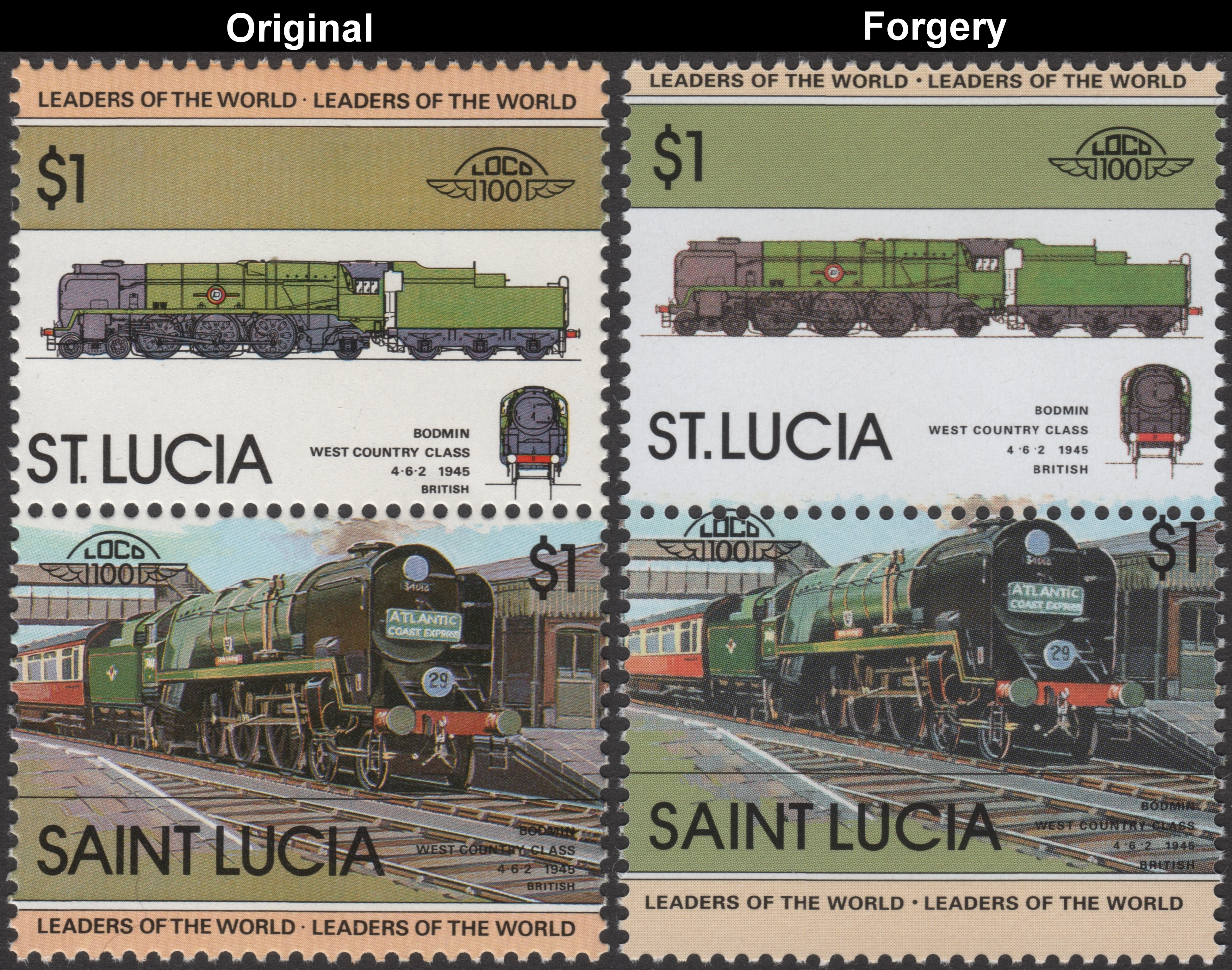 Saint Lucia 1983 Locomotives 1st Series Stamp Forgeries