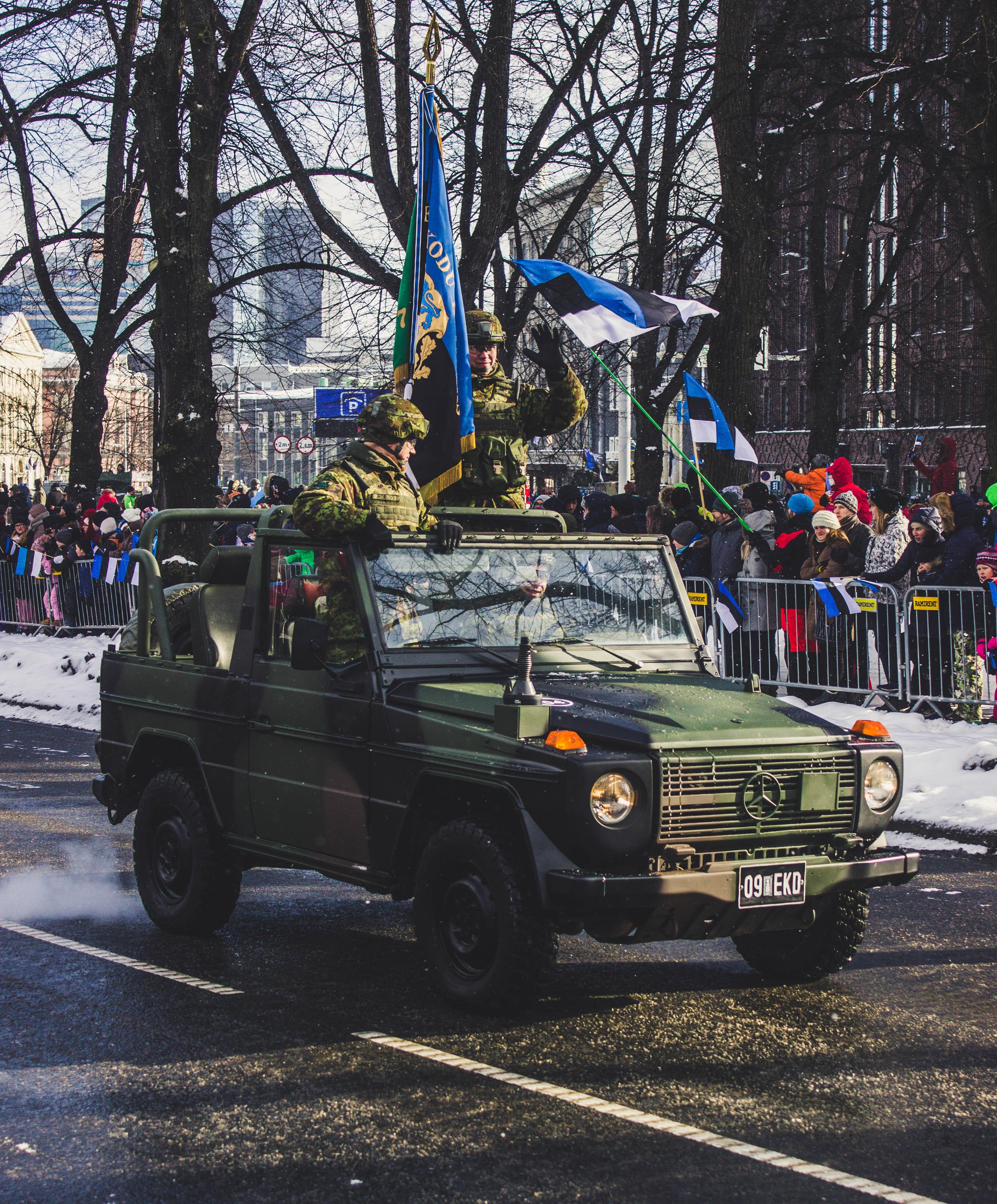 Blue Mercedes-benz Wrangler, Army, Parade, Vehicle, Uniform, HQ Photo