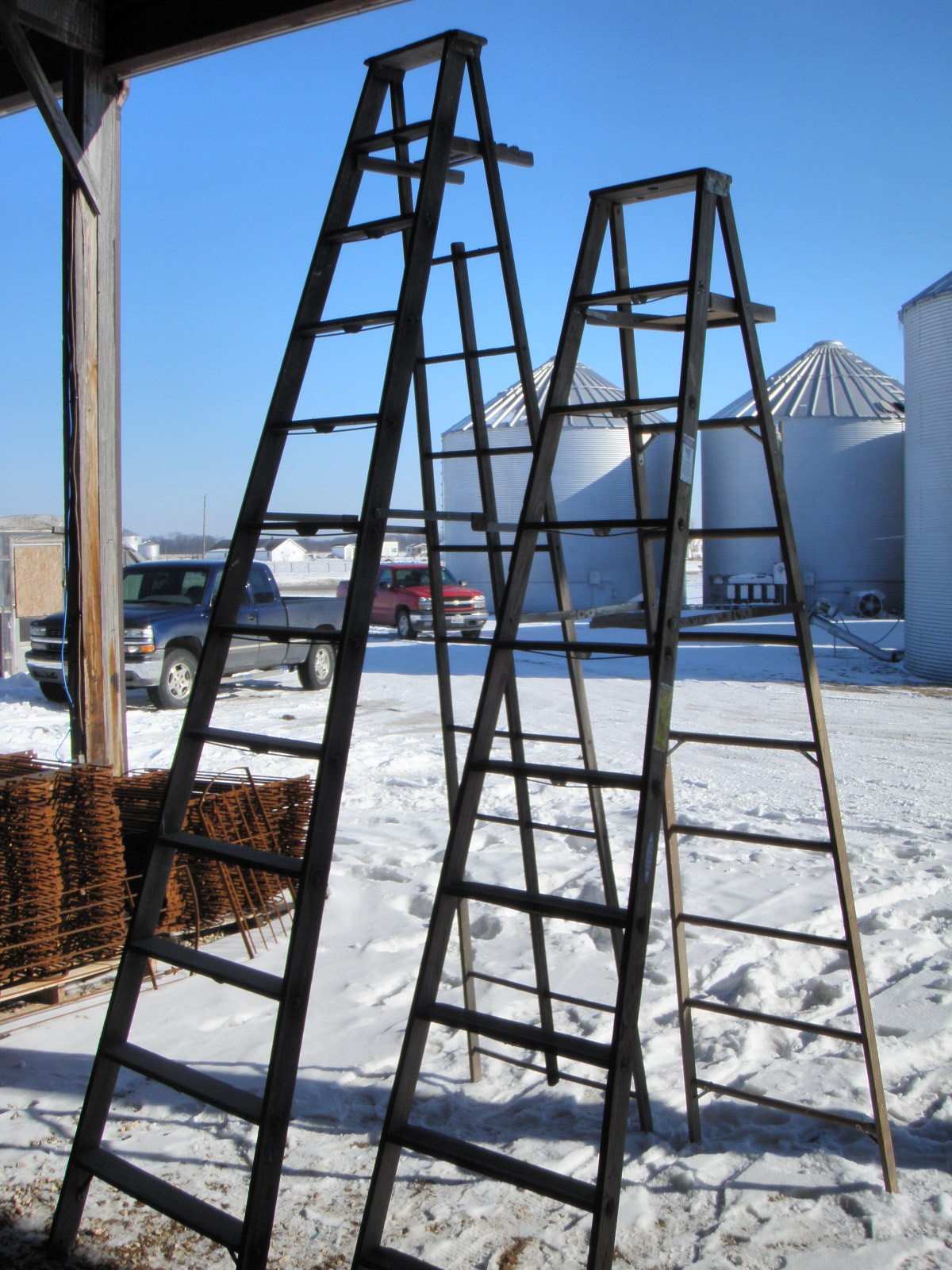 9 Step Tall Wooden Vintage Step Ladders