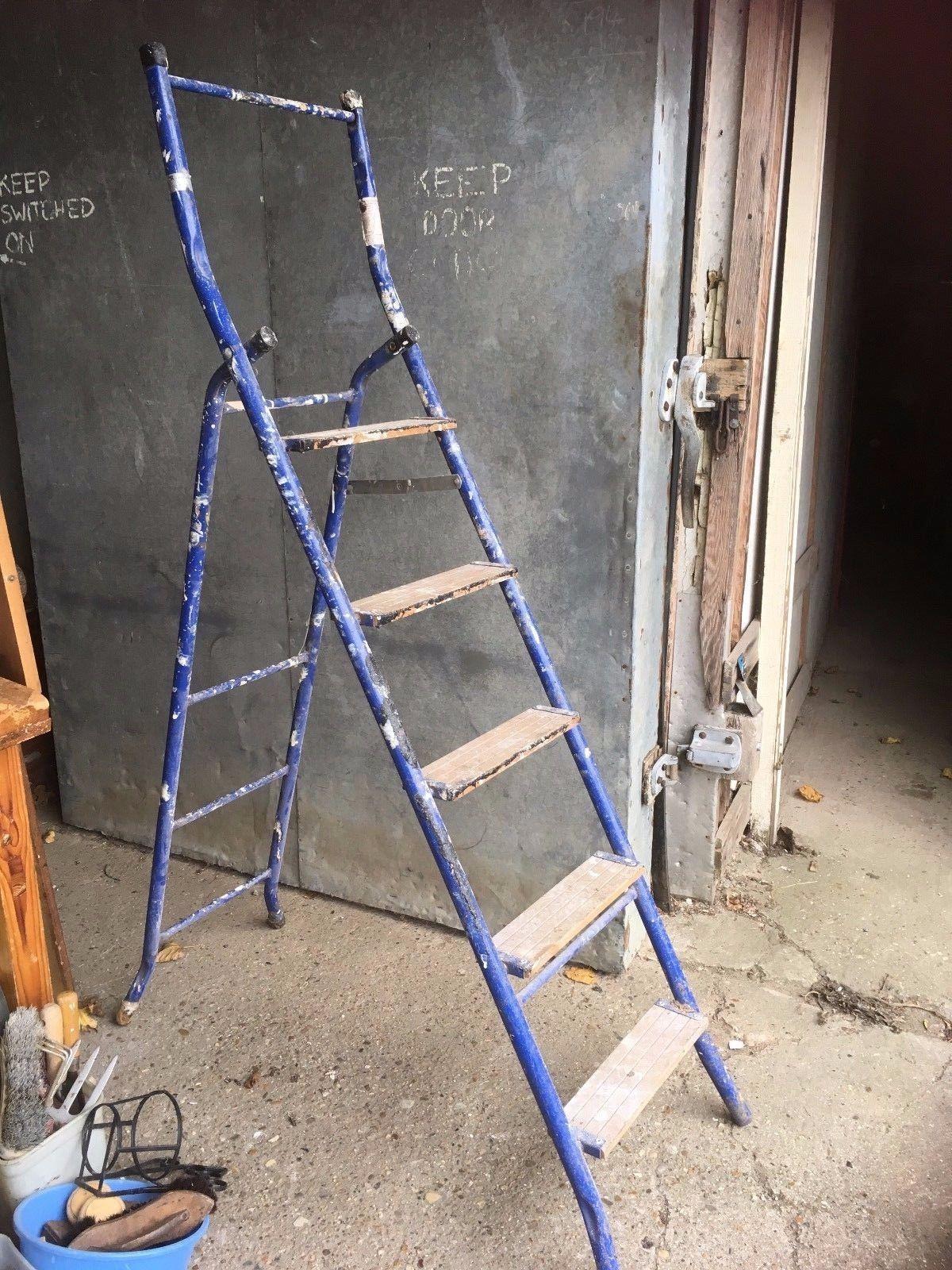 ASL Airflow Ltd Blue Metal Wooden Steps Stepladder DIY - £24.29 ...