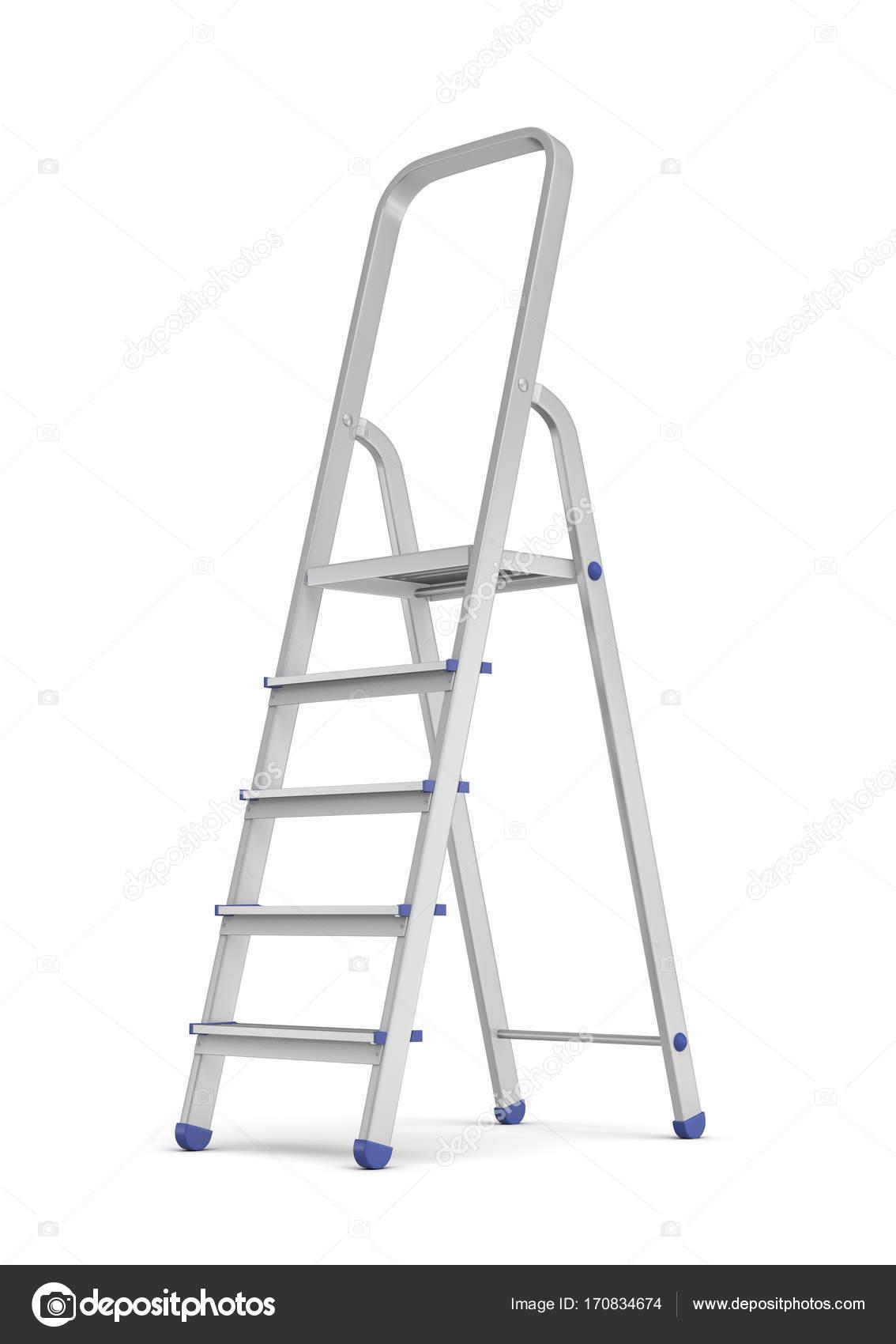 3d rendering of a metal builders step ladder with blue fittings in ...