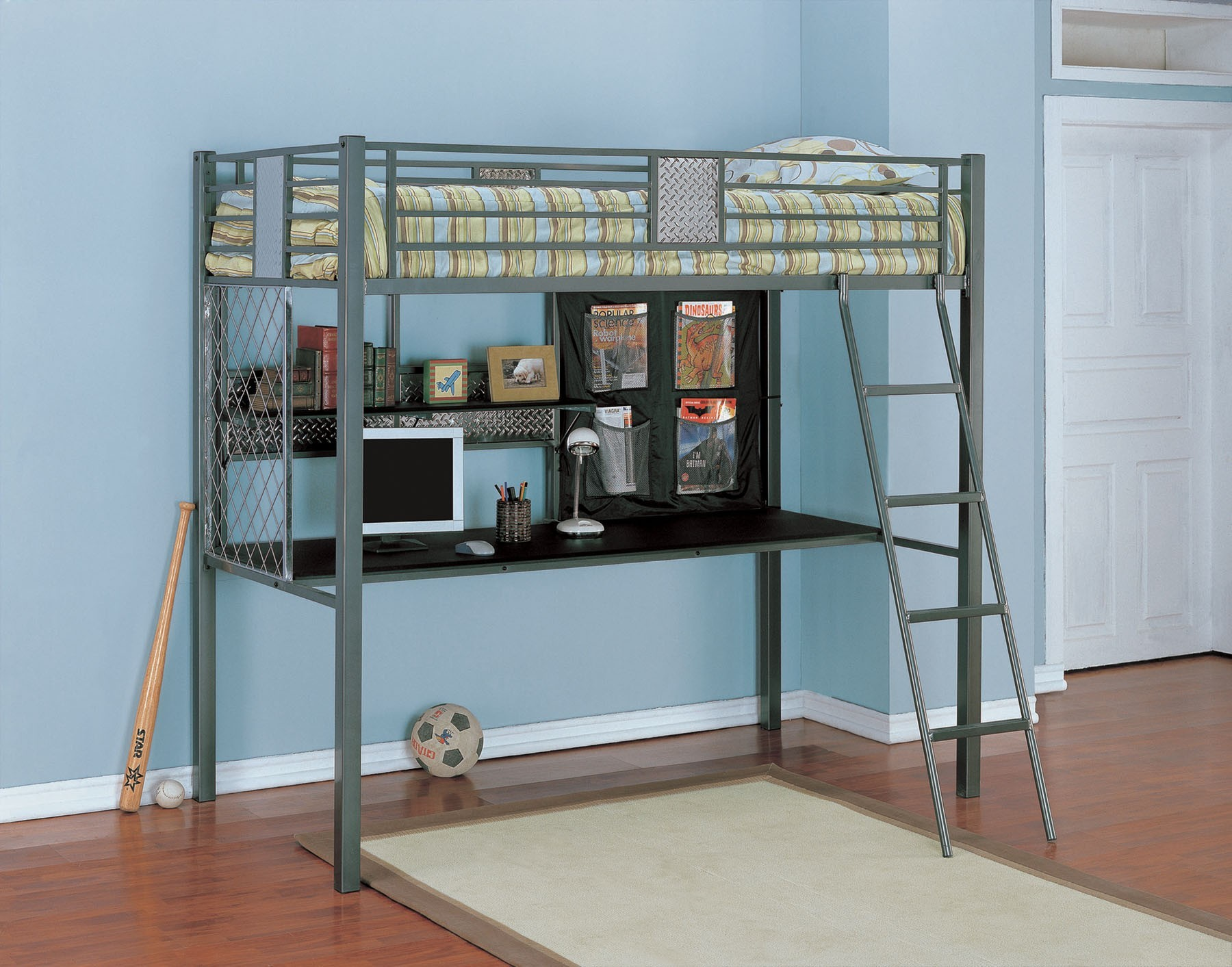 Cool Blue Metal Bunk Bed Design Featuring Metal Desk Below With ...