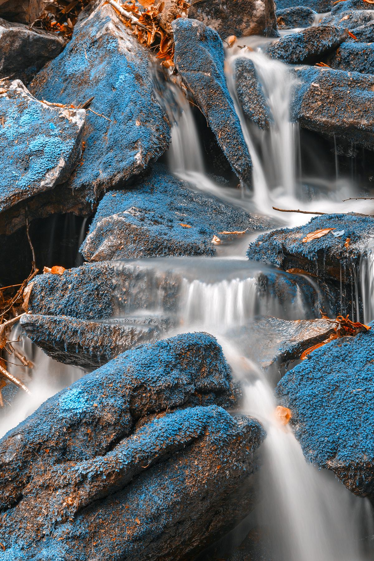 Blue moss waterfall - hdr photo