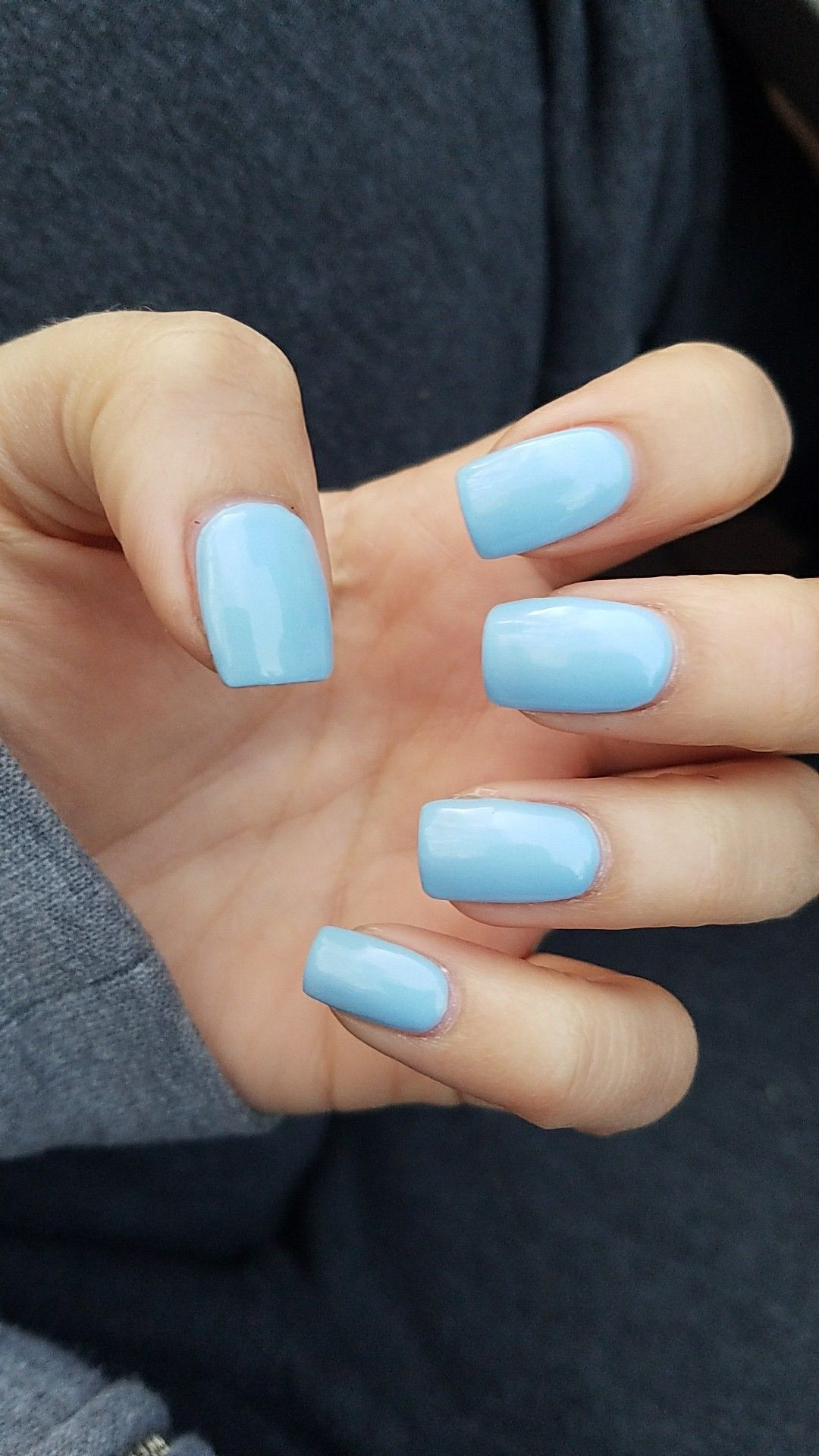Short square light blue nails. | nails. | Pinterest | Blue nails ...