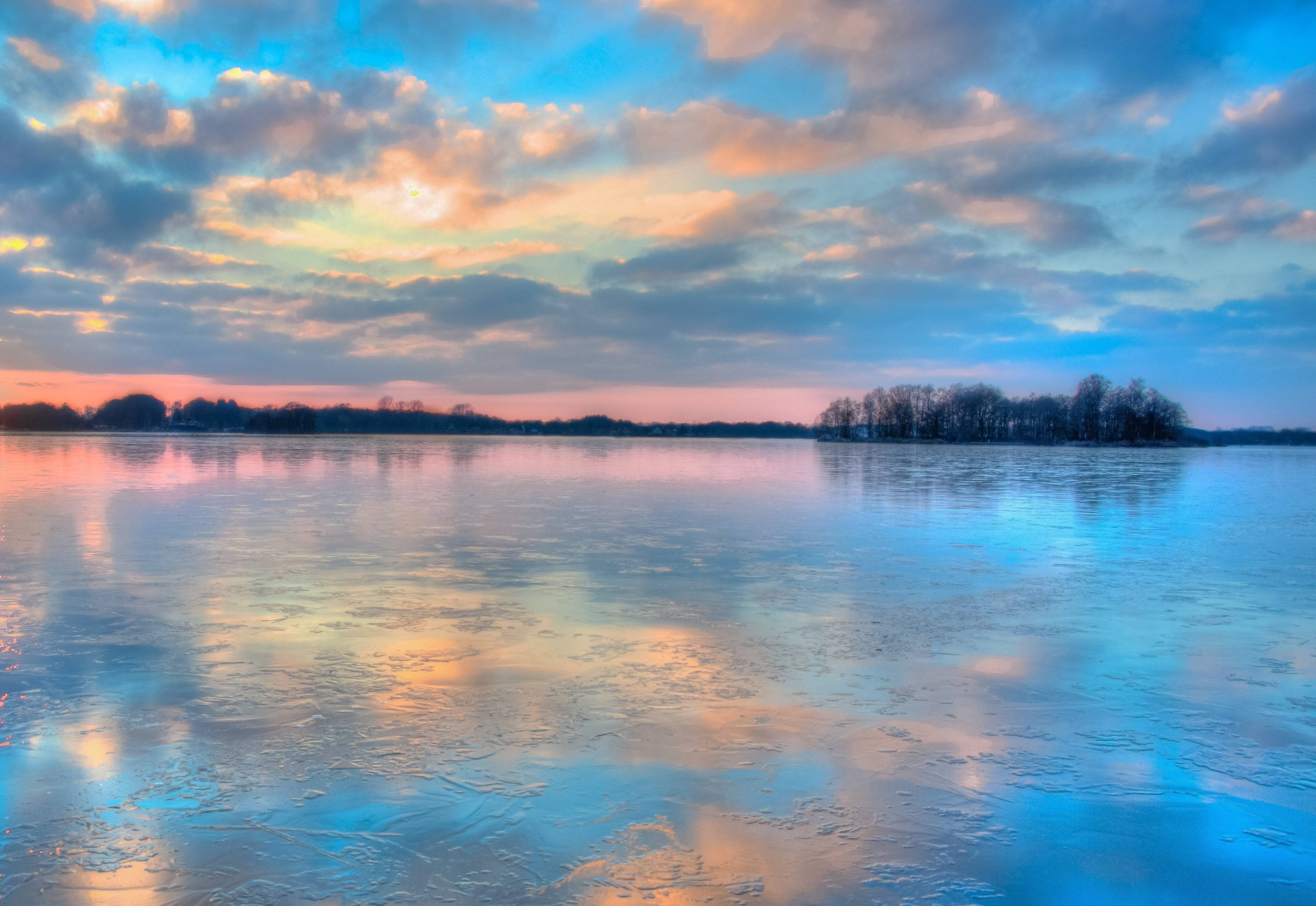 Blue orange and yellow sunset photo