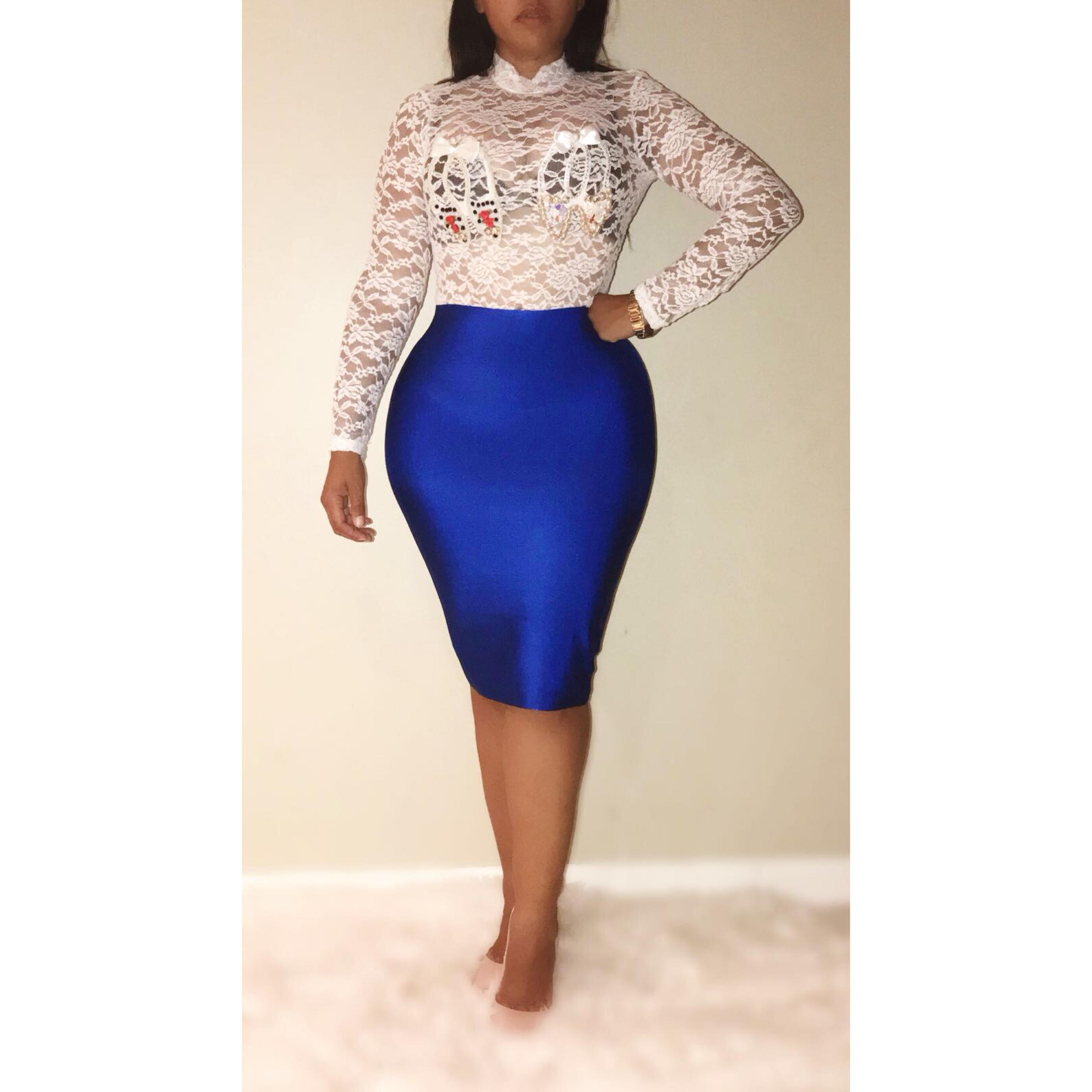 Royal blue Pencil Skirt – BONCURVES Fashion