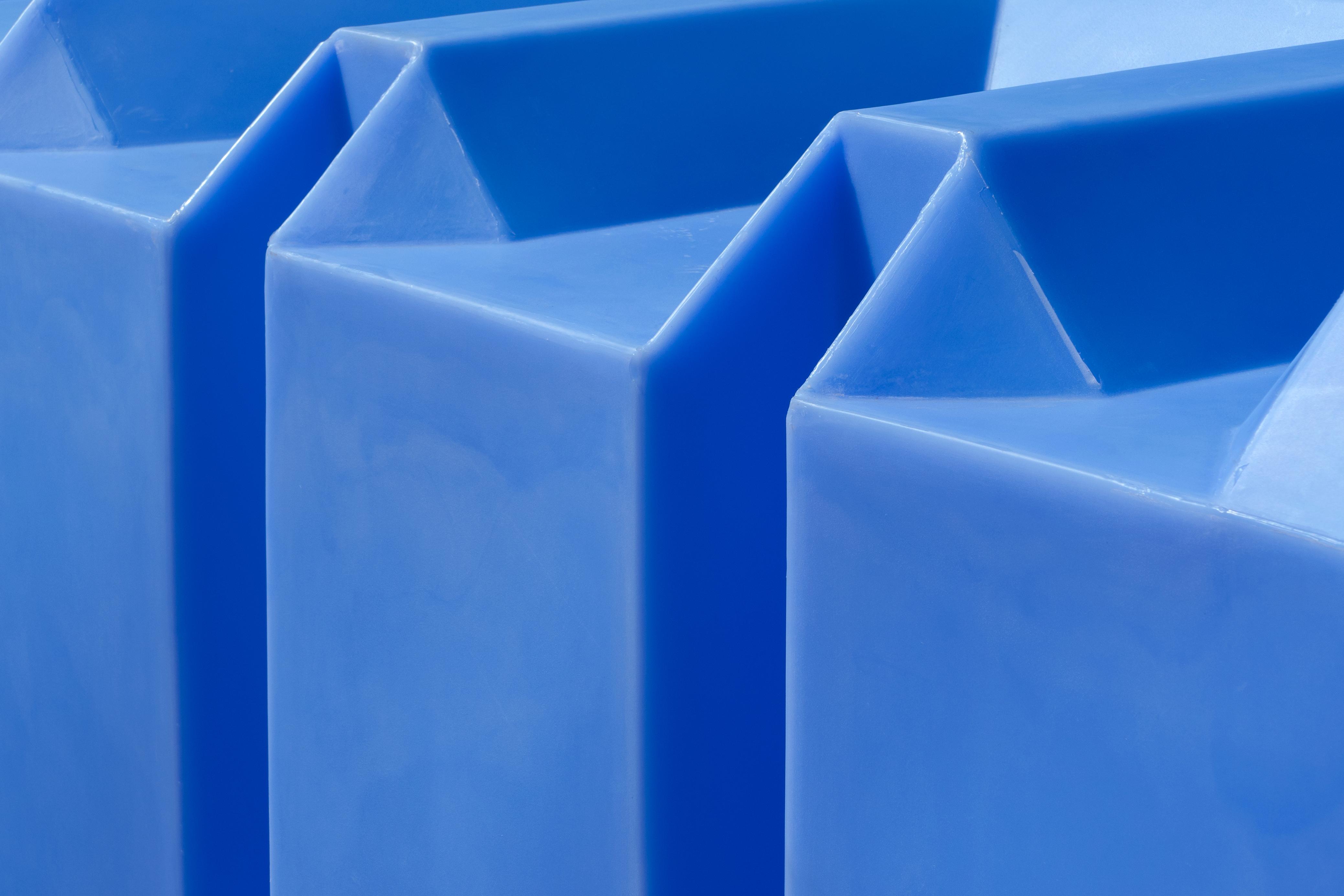 Blue plastic water tank 1, Architecture, Blue, Geometric, Lines, HQ Photo