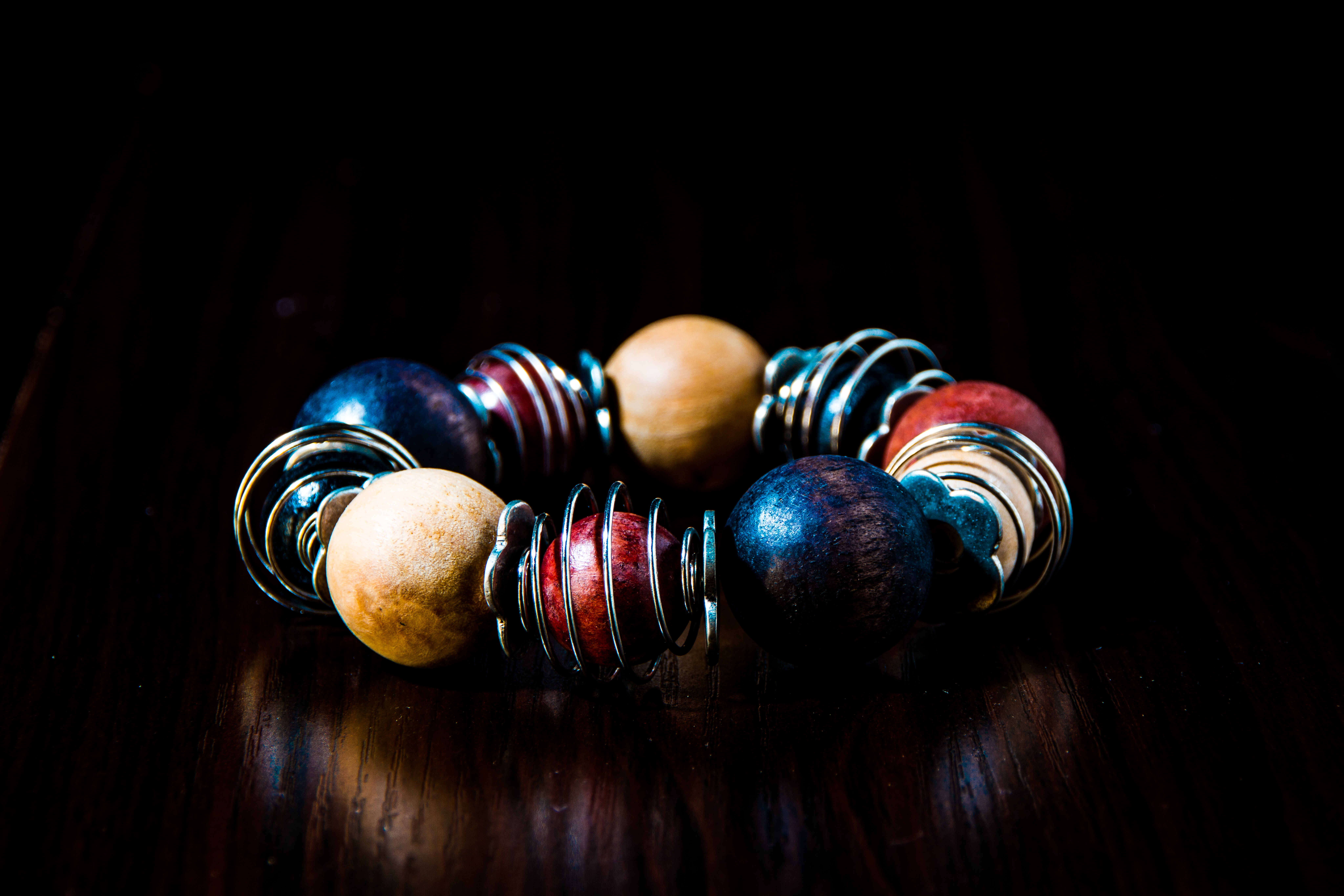Blue, Red, Beige, and Silver Beaded Bracelet, Art, Spiral, Shining, Shapes, HQ Photo