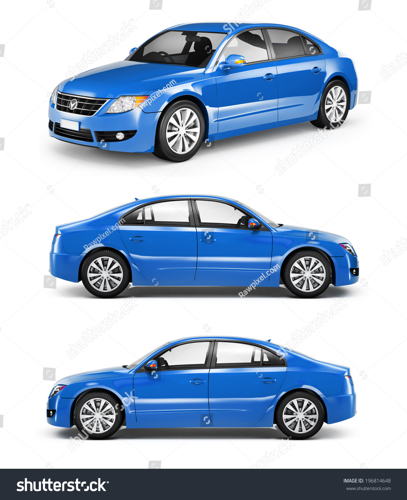 3d Blue Sedan Car Stock Illustration 196814648 - Shutterstock