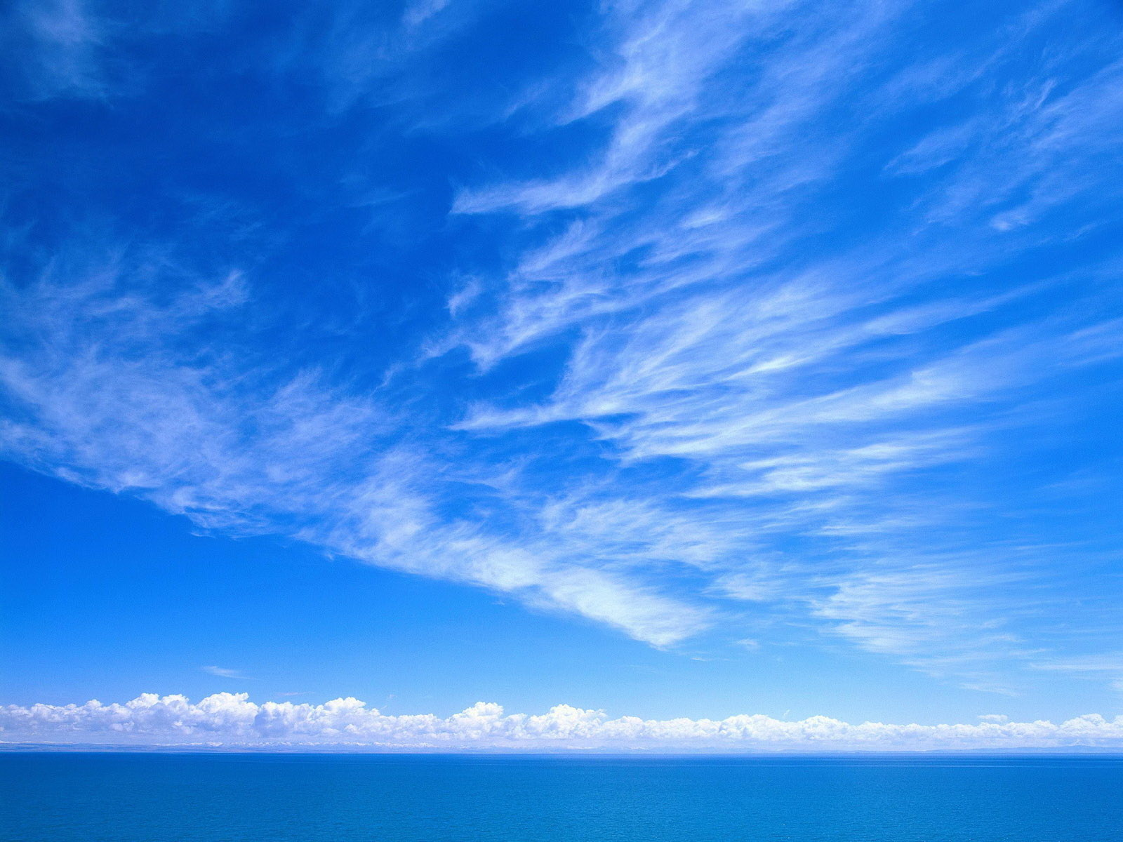 Wallpaper sky, blue sky, clouds, sea, clear, simple desktop ...
