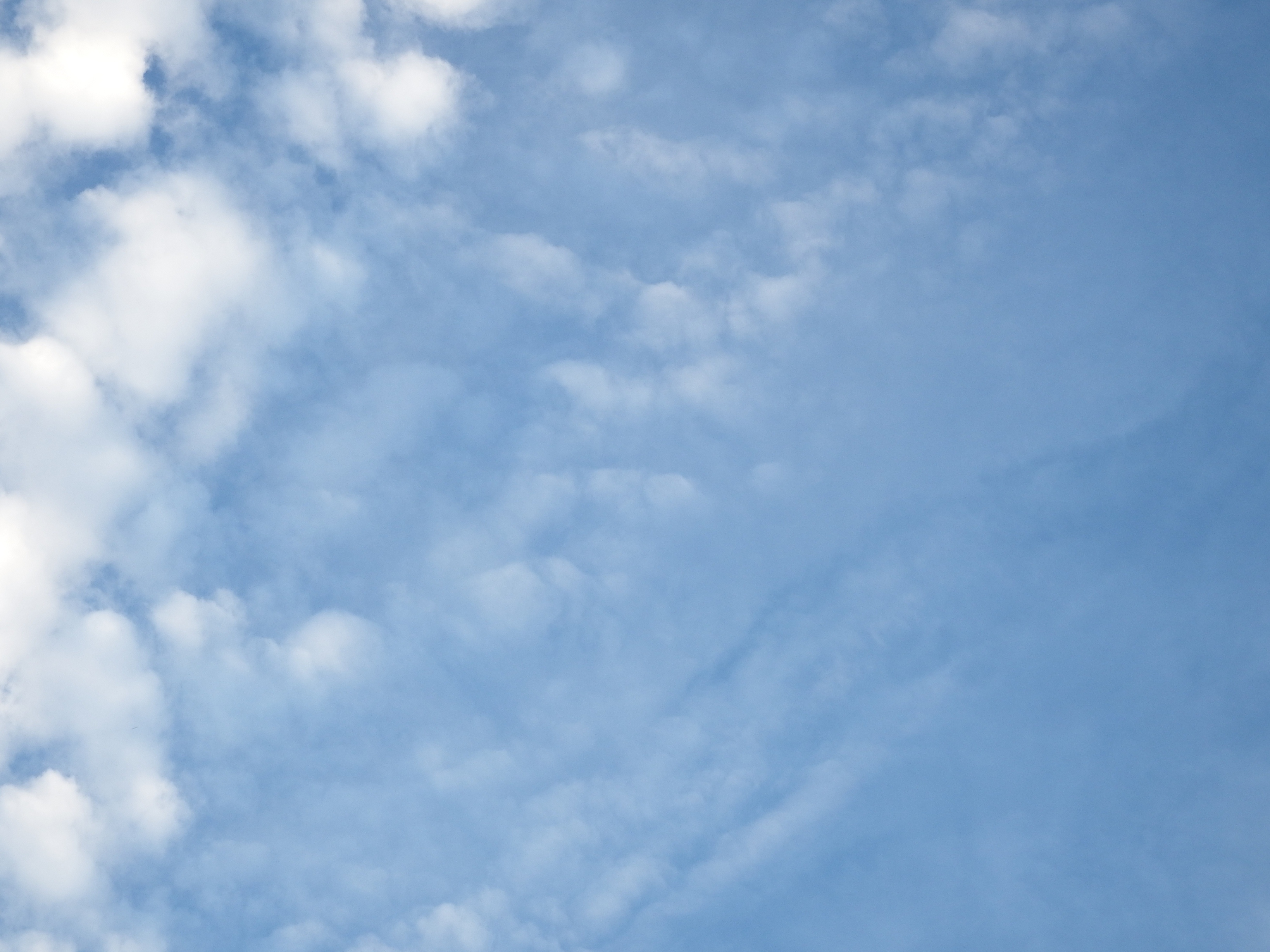 Blue sky and fluffy white clouds photo