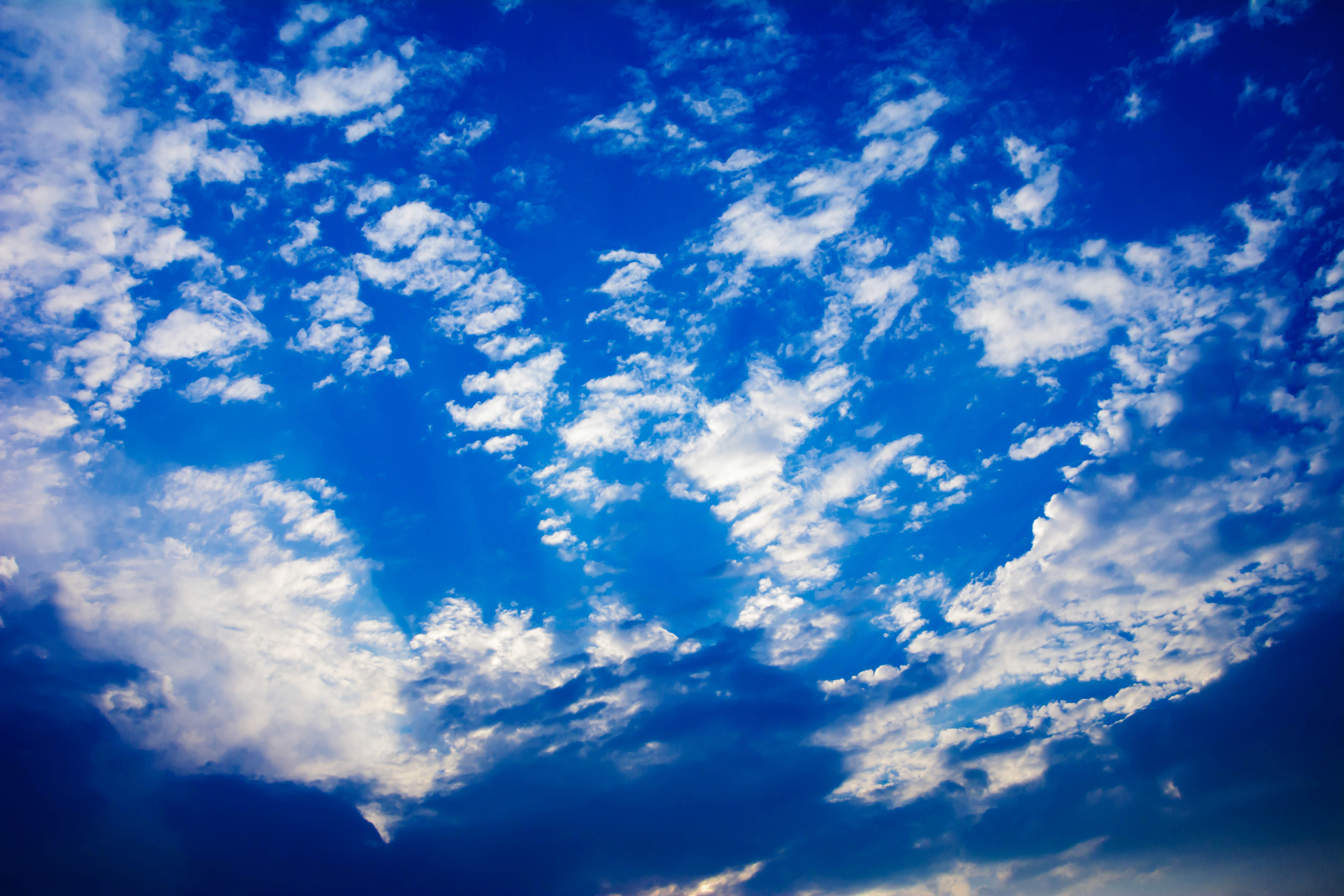 Blue sky with clouds and sun photo