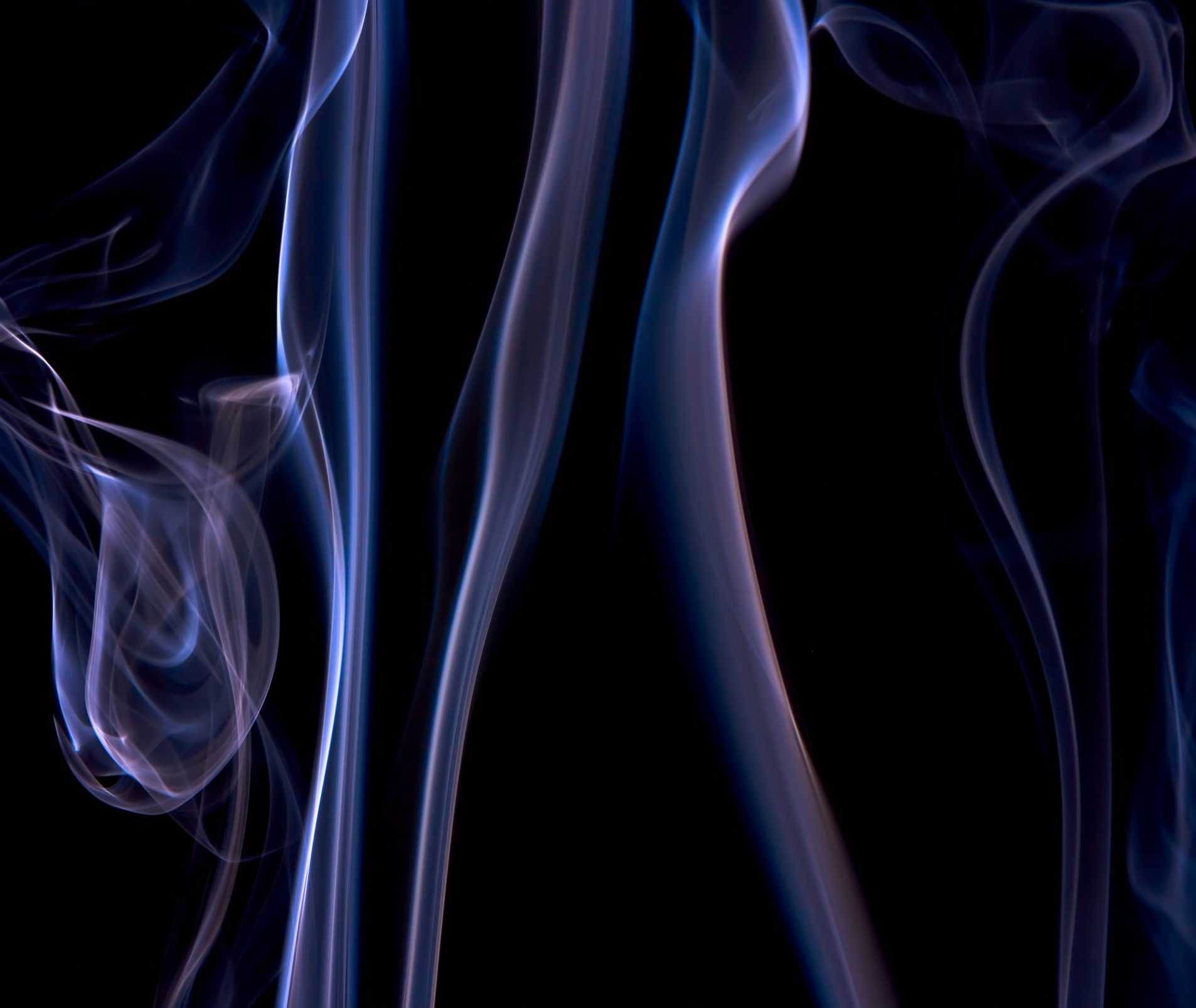Blue smoke on black, Abstract, Silky, Light, Lines, HQ Photo