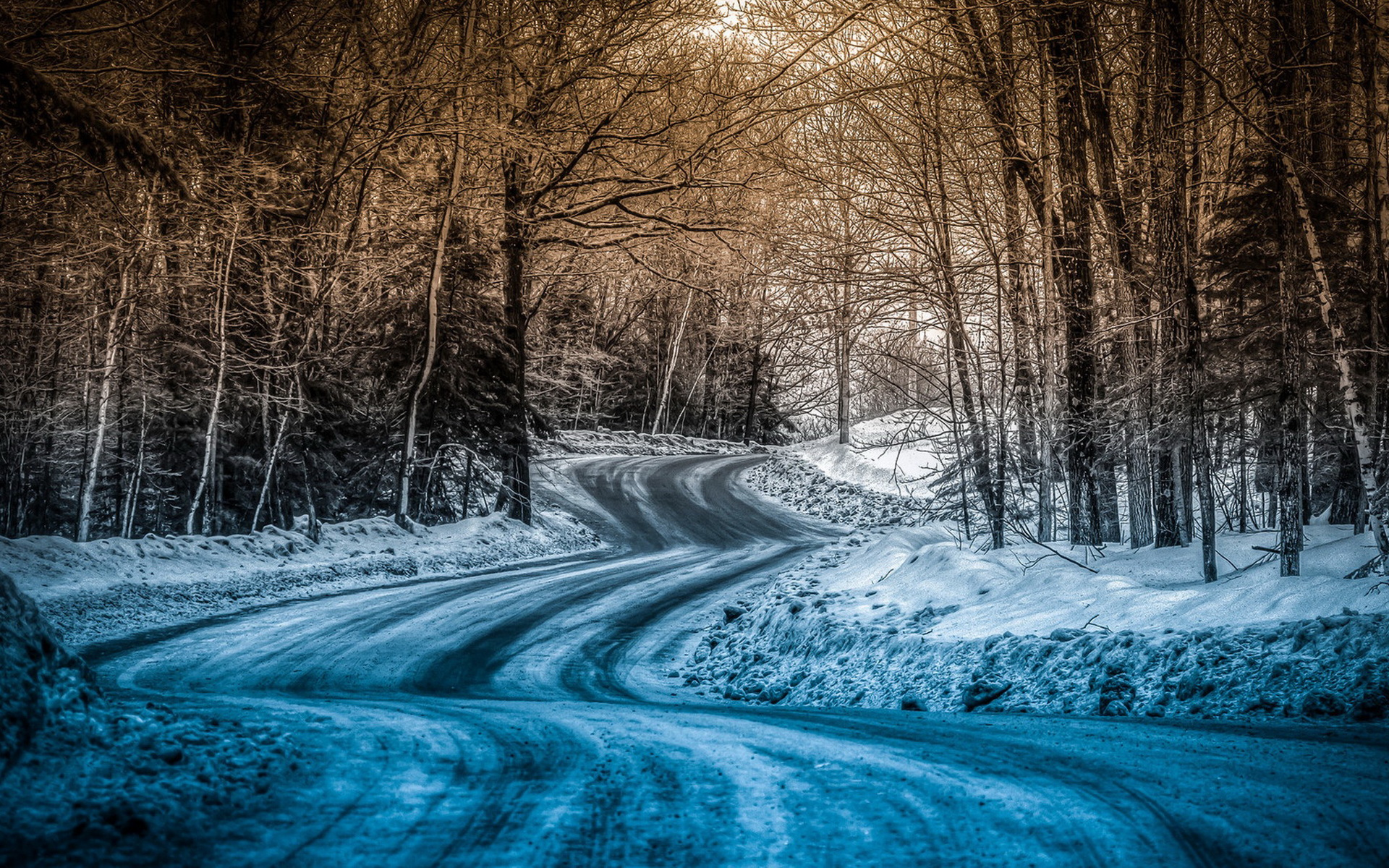 Blue Snow On The Road wallpapers | Blue Snow On The Road stock photos