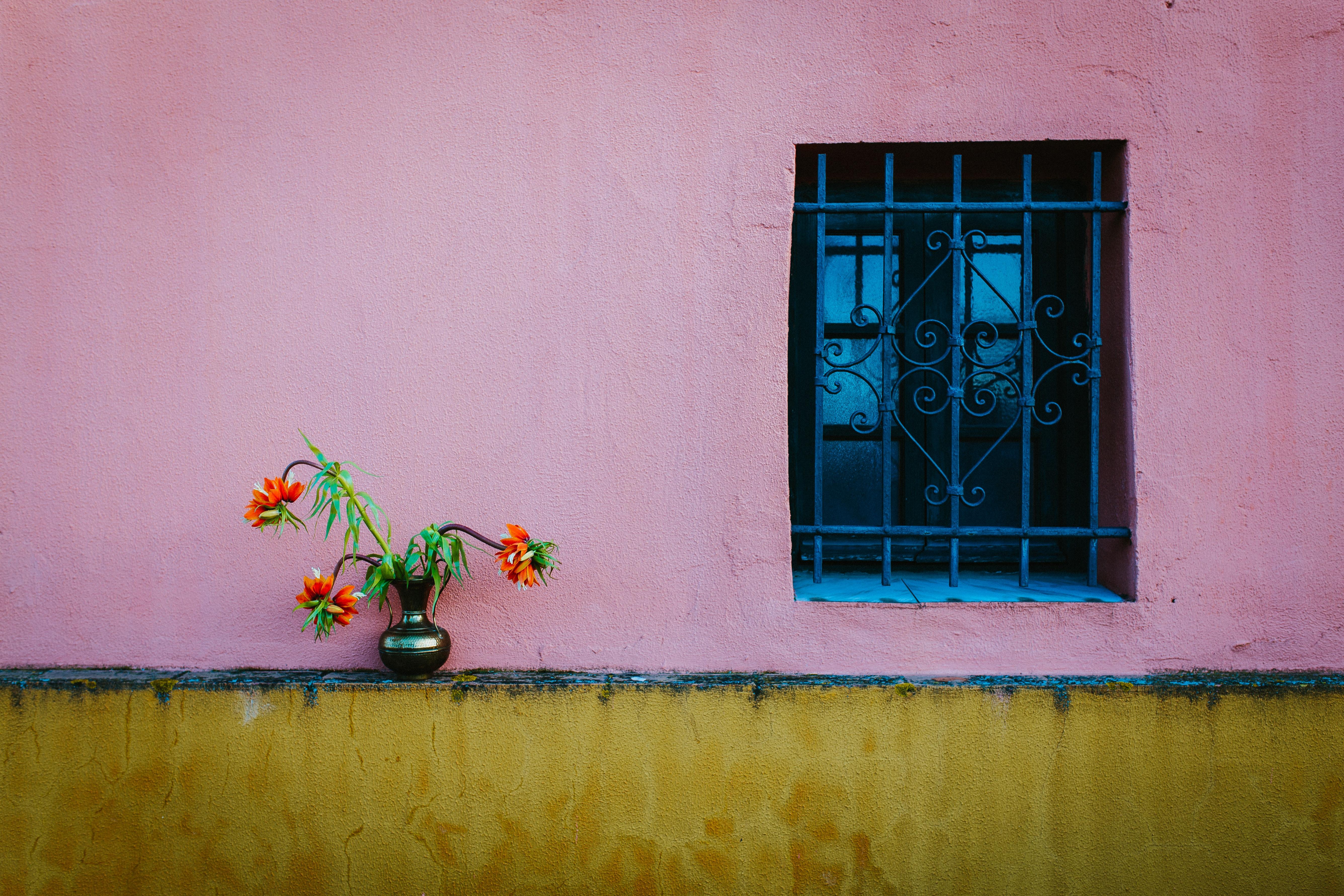 Blue steel window frame photo