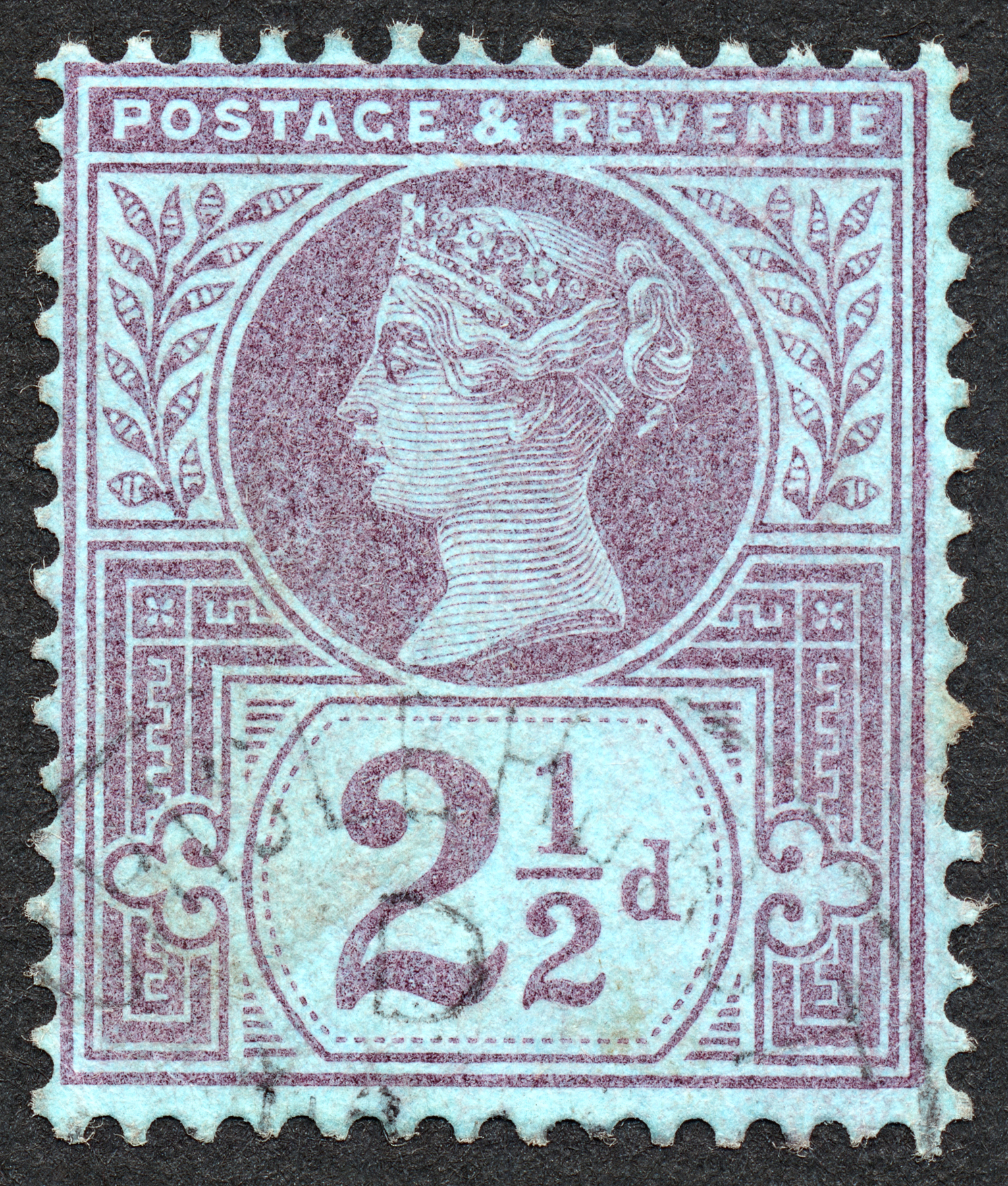 Blue-violet queen victoria stamp photo