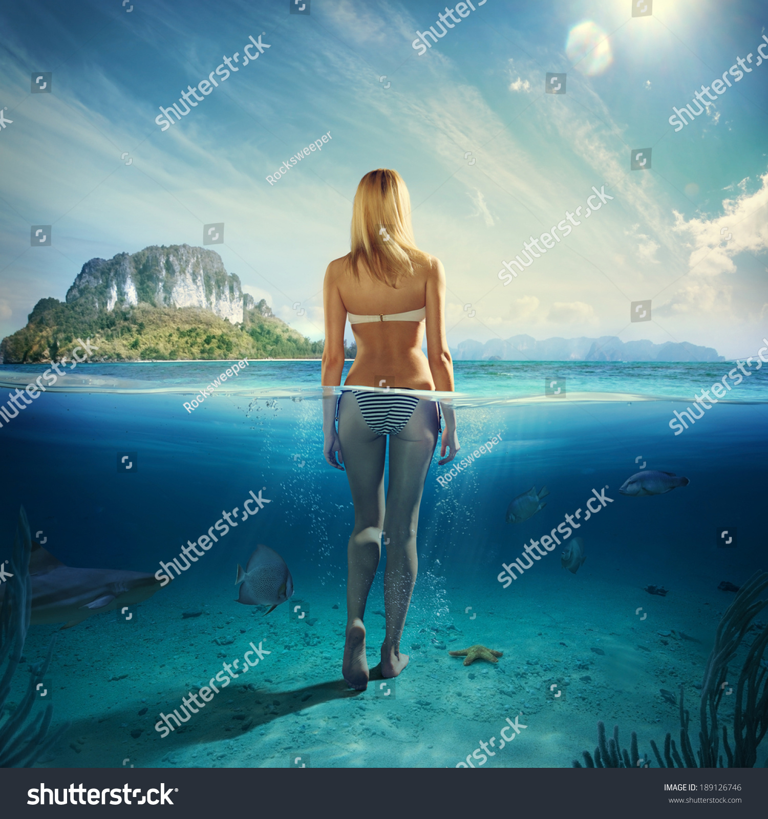 Attractive Woman Standing Blue Water Stock Photo (Royalty Free ...