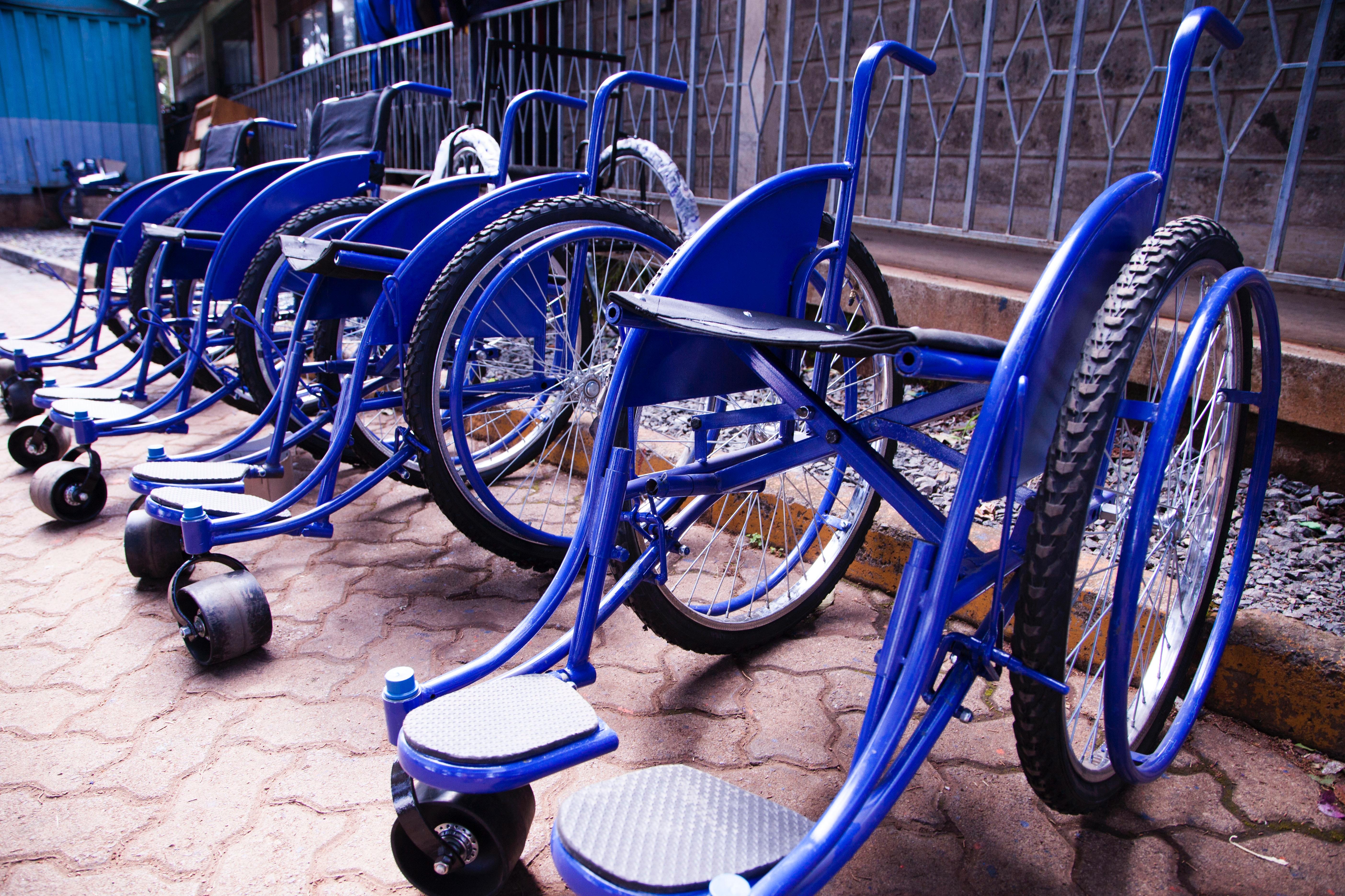 Blue wheel chairs photo