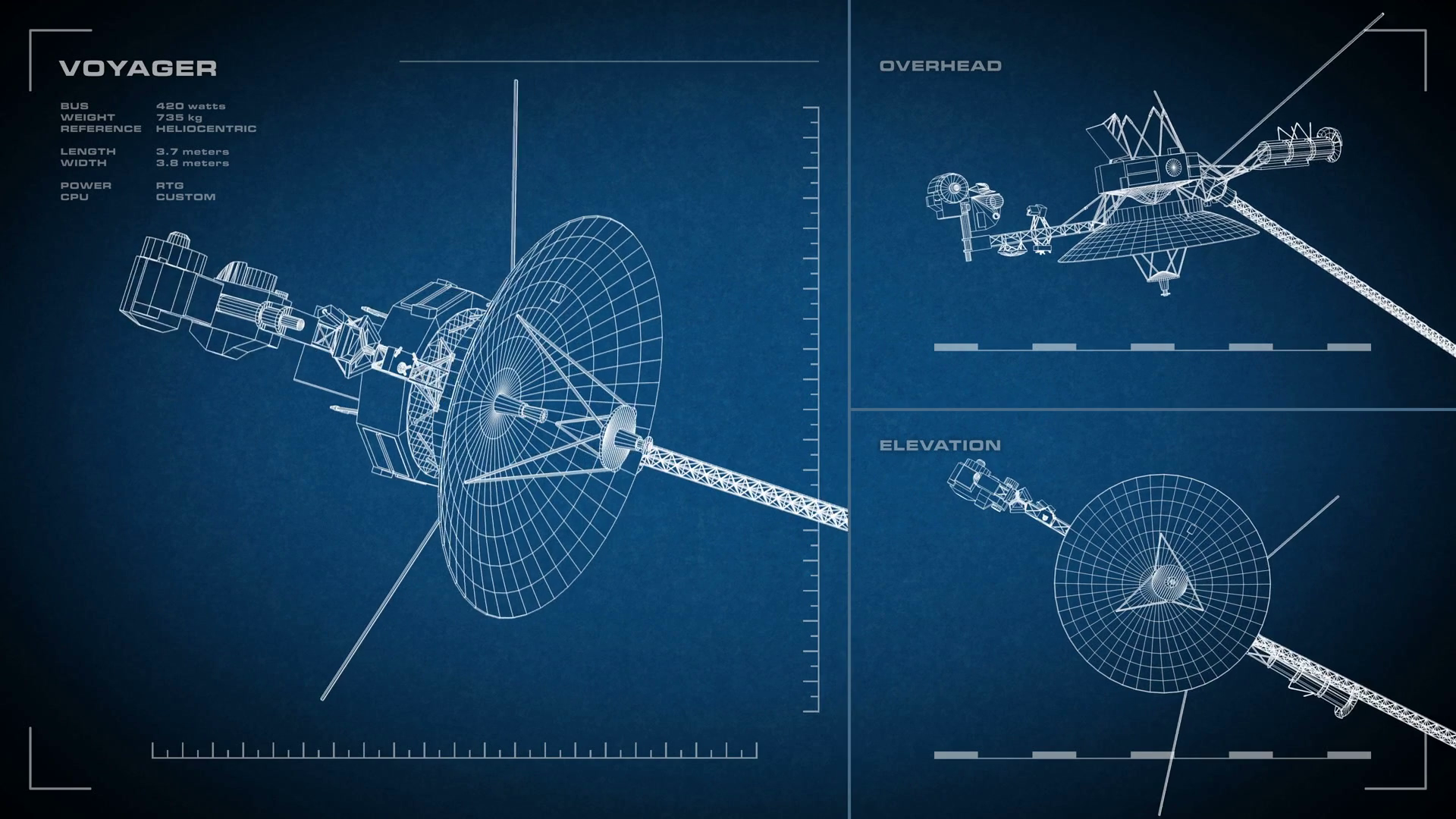 Looping, animated orthographic engineering blueprint of Cassini ...