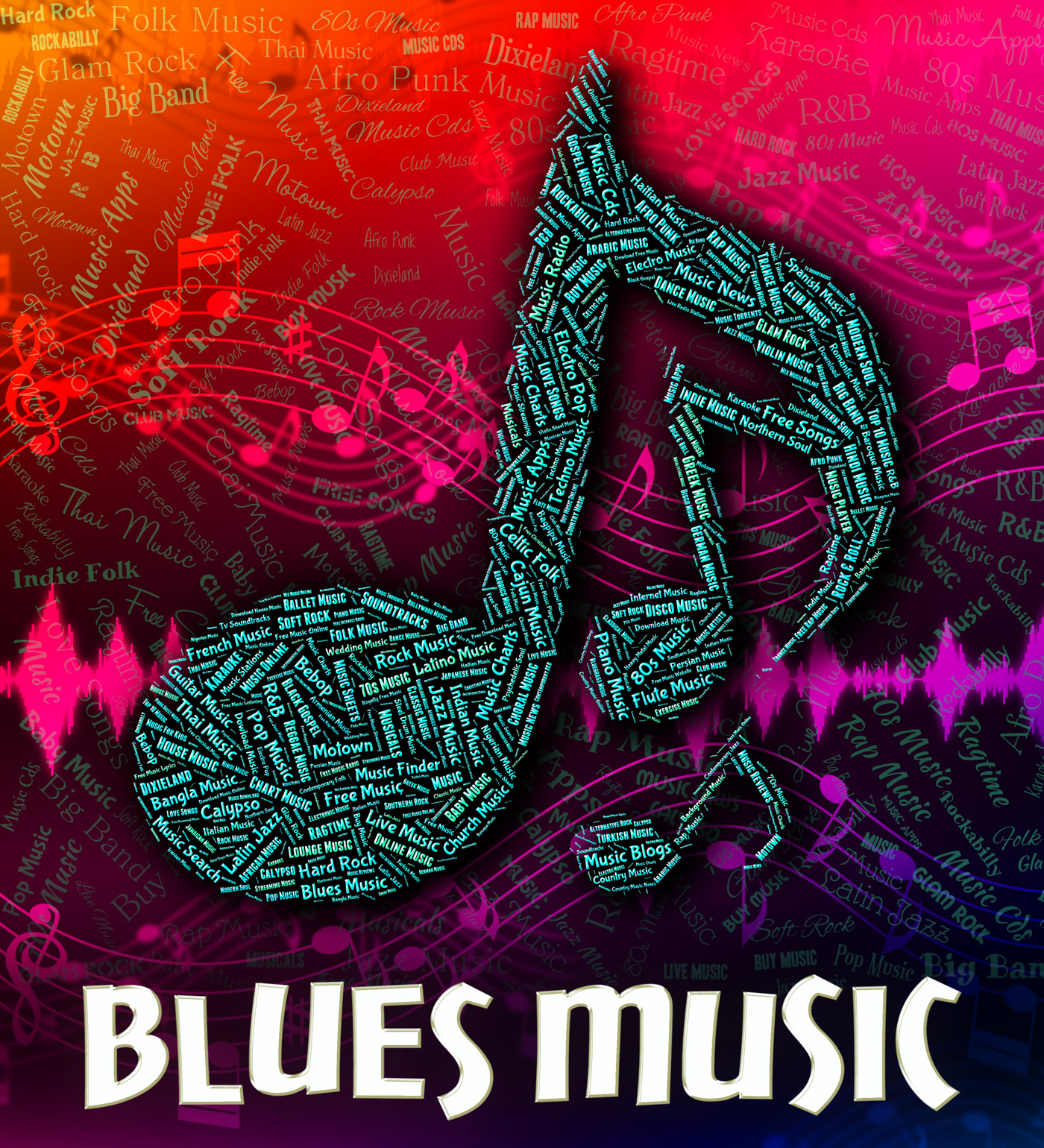 Blues music represents sound tracks and acoustic photo