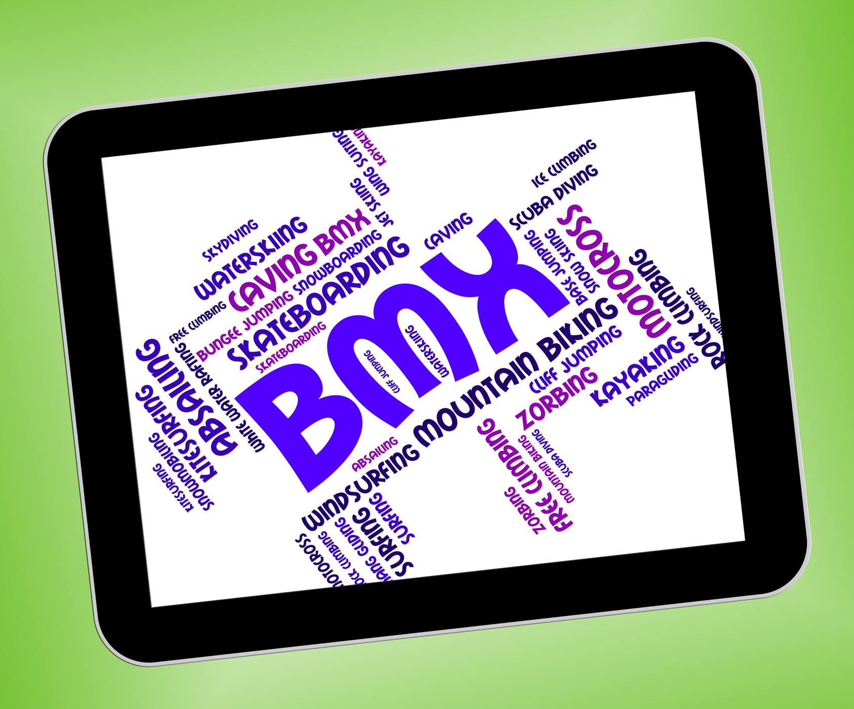 Bmx bike words means bicycle riding and wordcloud photo