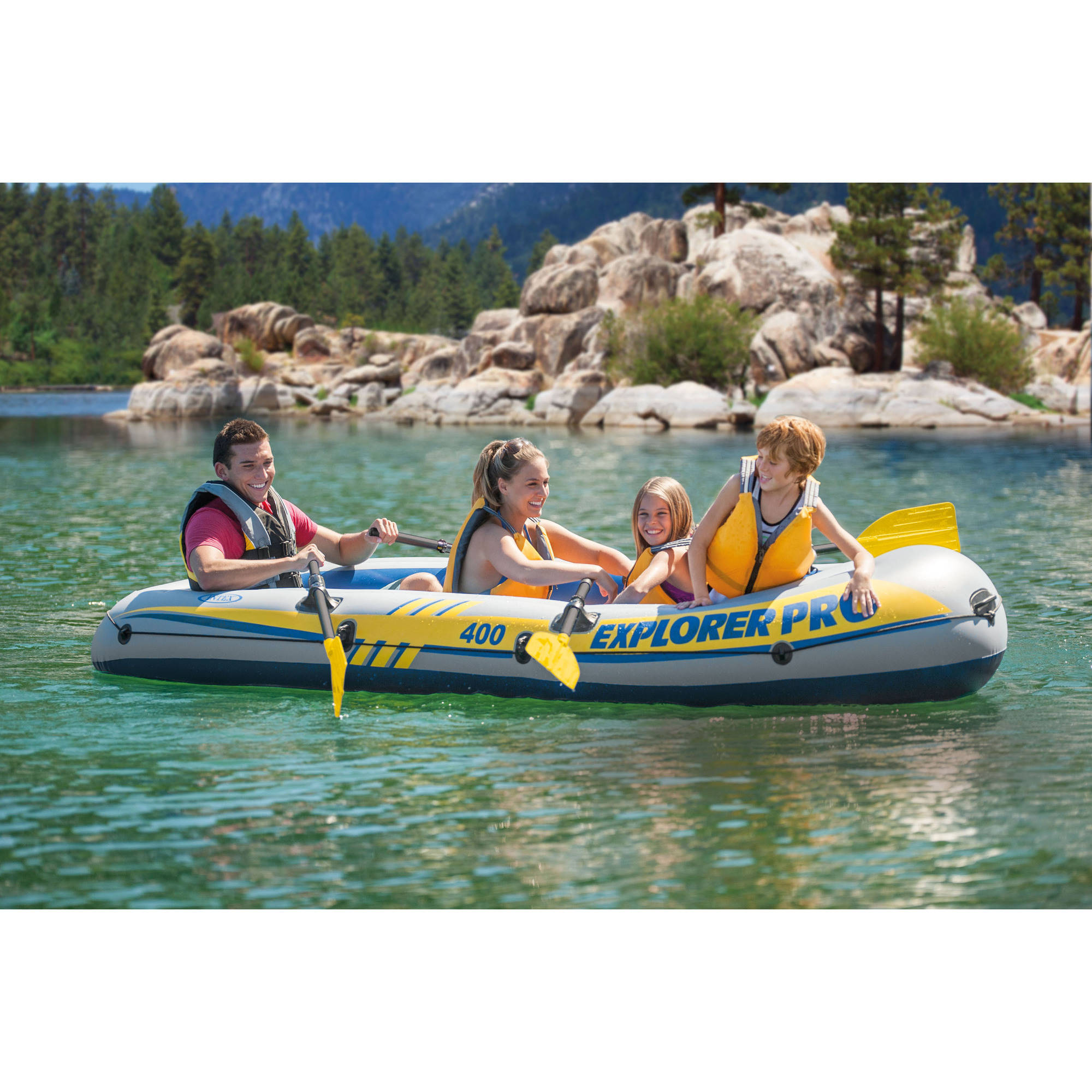 Intex Inflatable Explorer Pro 400 Four-Person Boat with Oars and ...