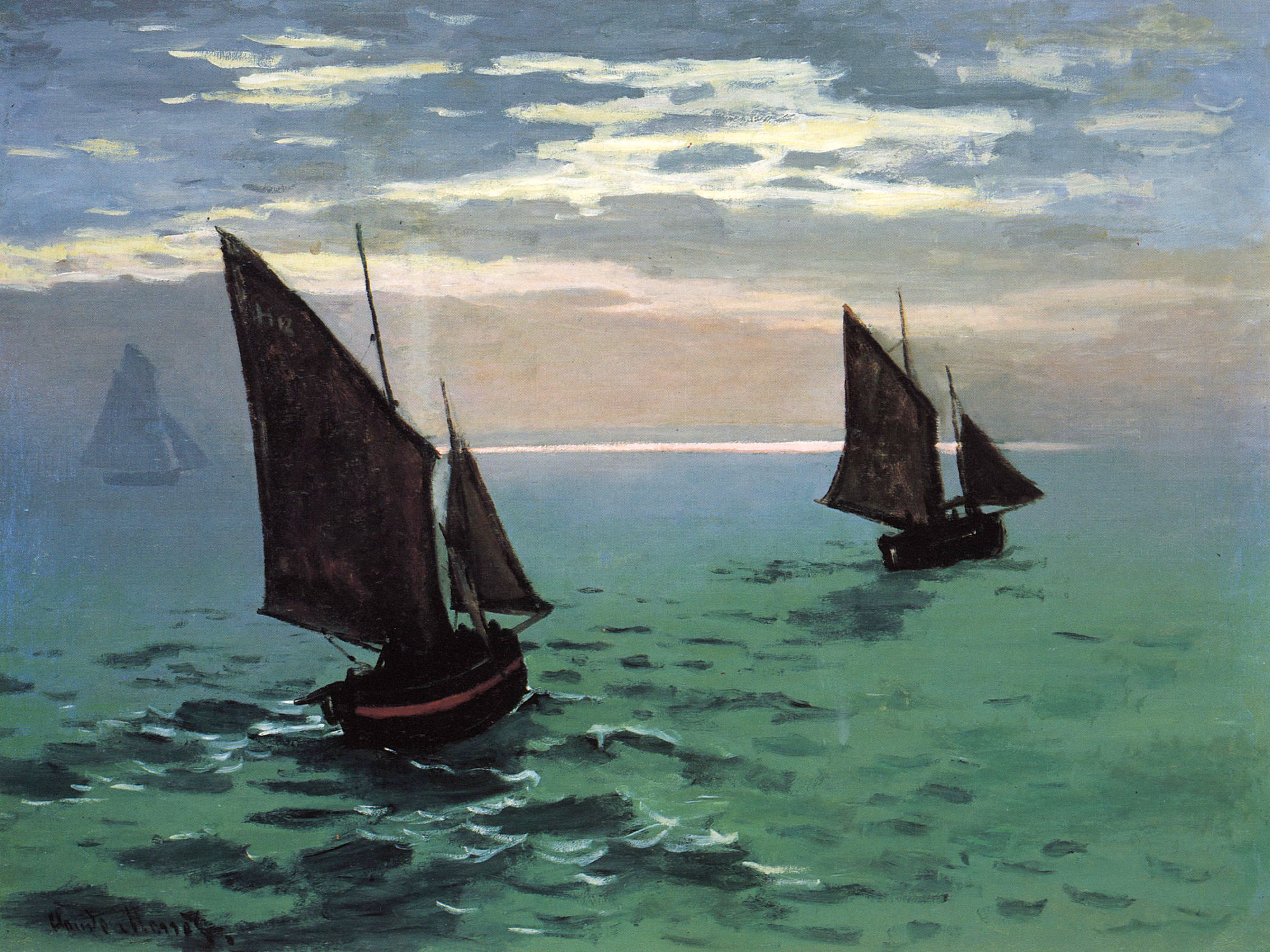 Claude Monet - Fishing Boats at Sea 1868 in high definition ...