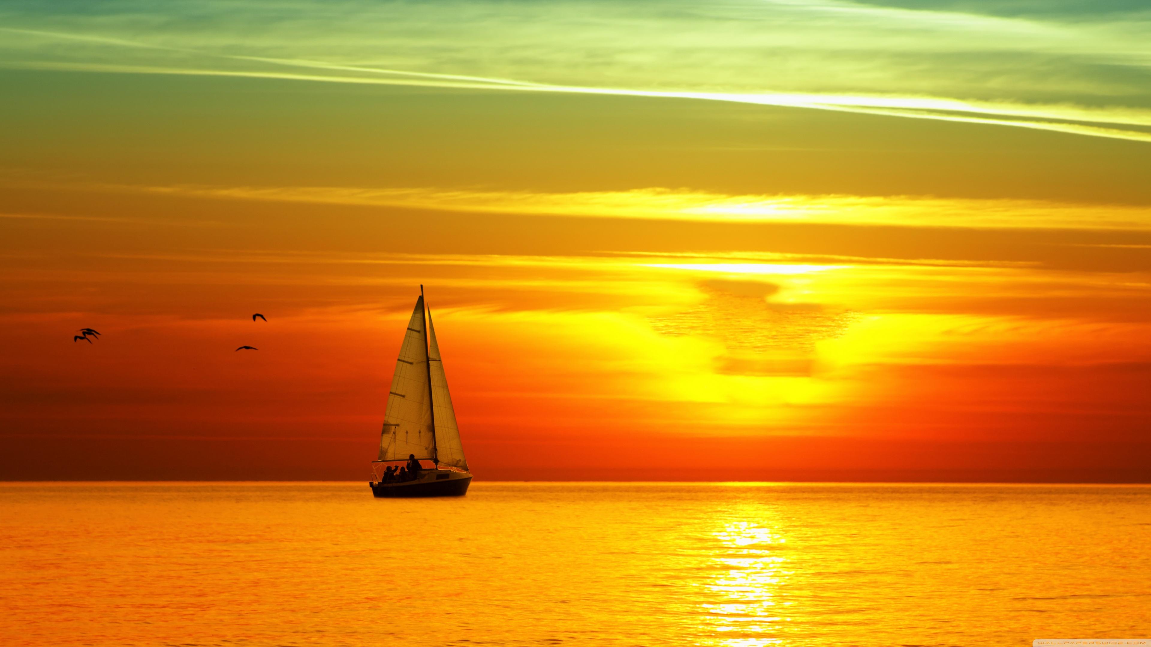 Sailing Boat At Sunset ❤ 4K HD Desktop Wallpaper for • Dual Monitor ...