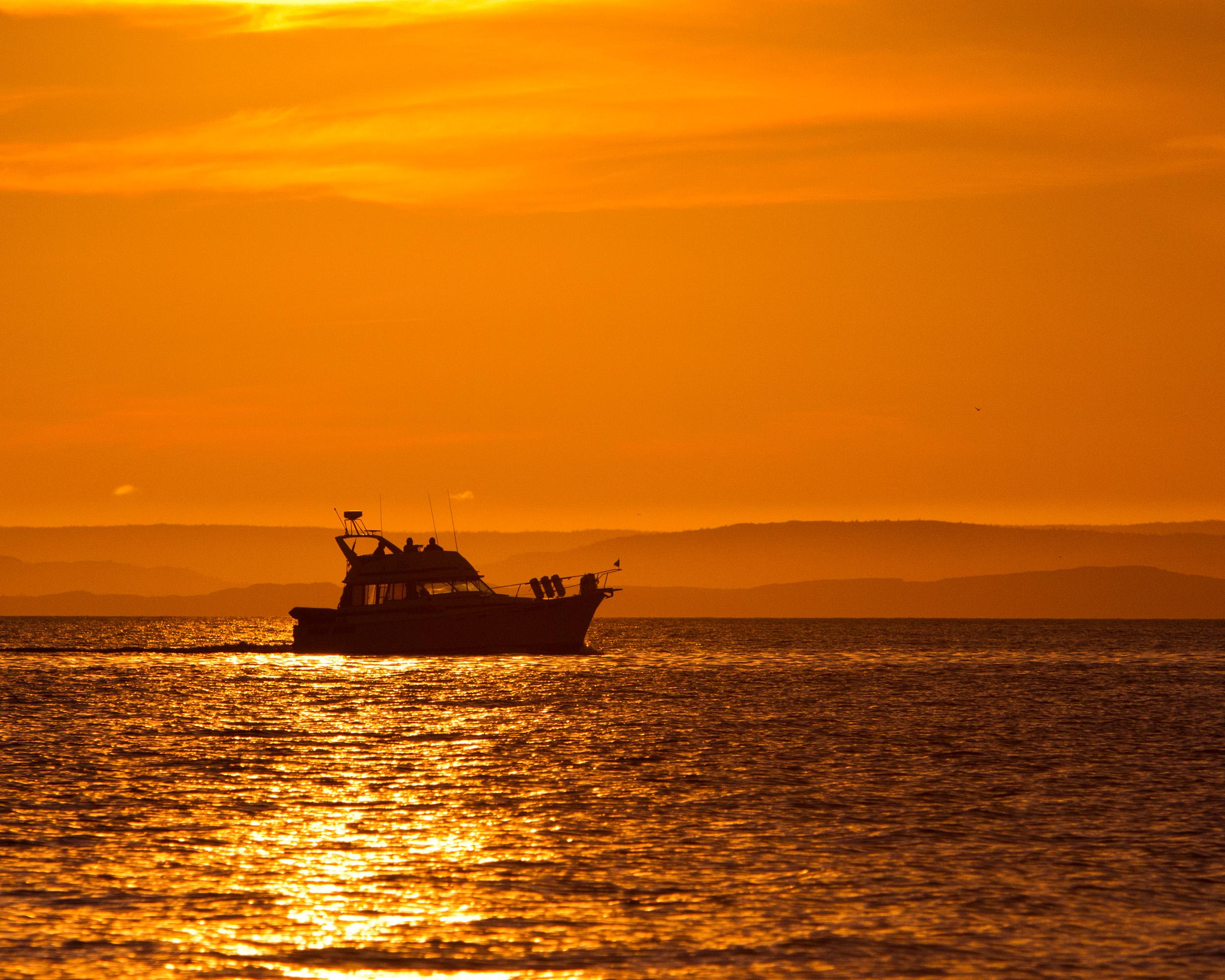 Boat at sunset, America, Sunset, Scenic, Sea, HQ Photo