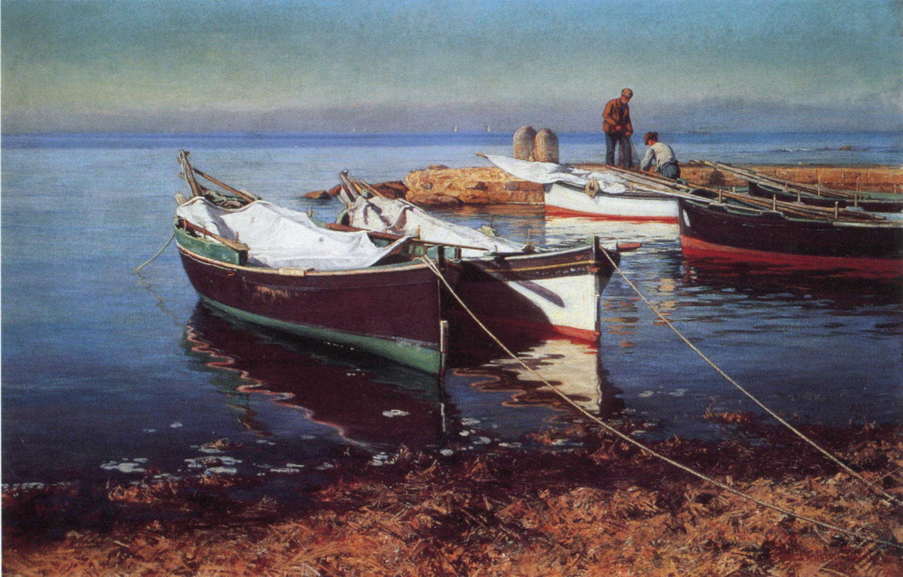 Fishing Boats Painting   Elin Kleopatra Danielson Gambogi   Oil ...
