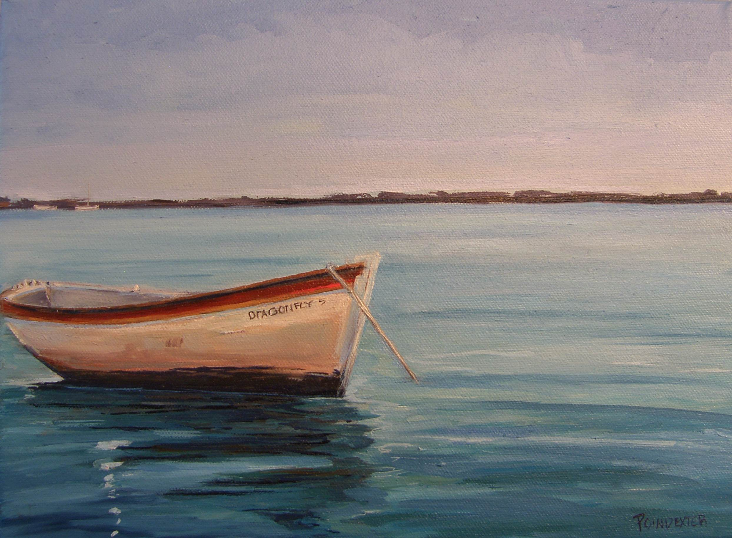 Fishing Boat in Rehoboth Bay - Oil Painting - Dianna Poindexter