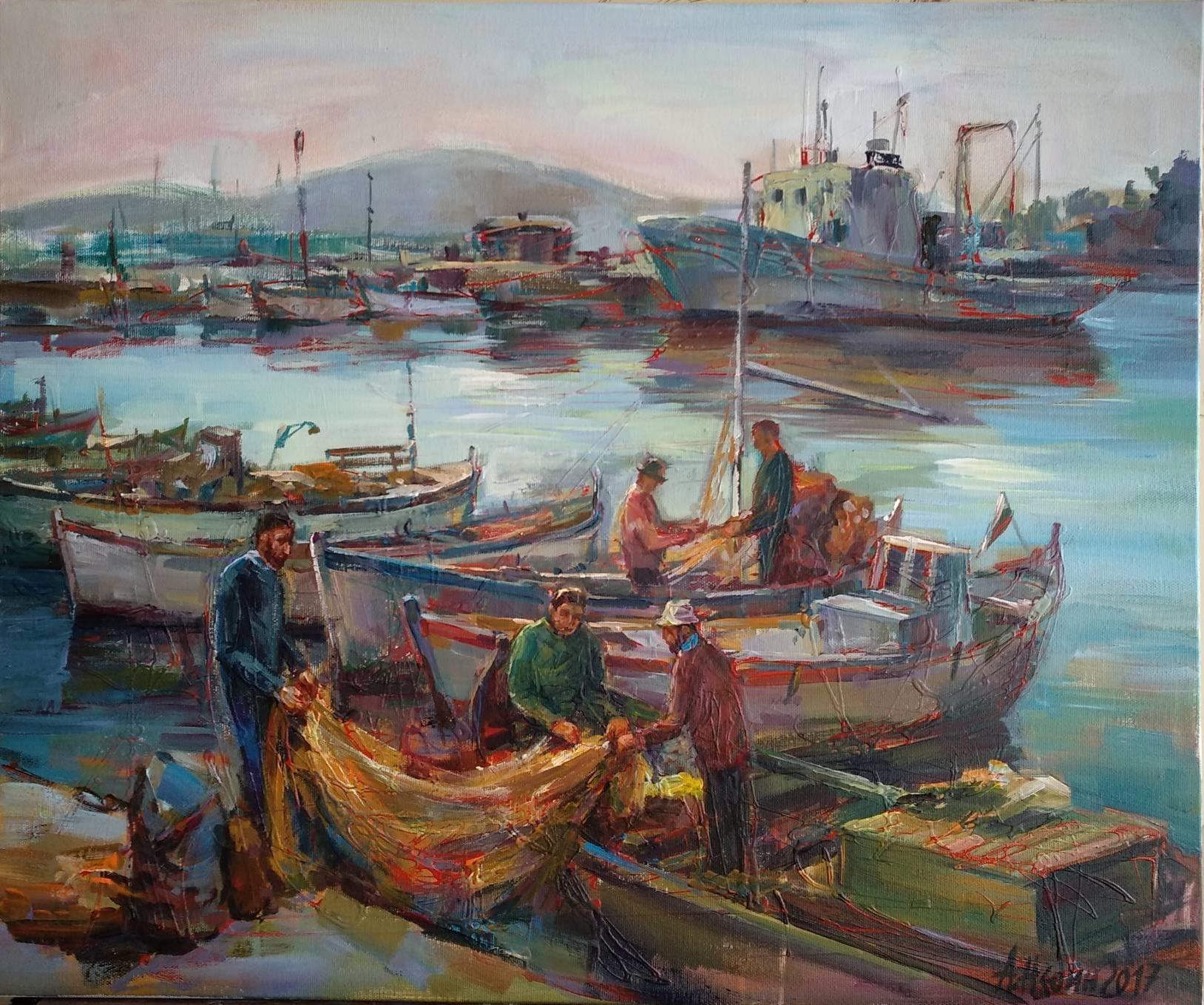 "Fishing Boats"" Seascape Oil Painting Angelina Nedin – Art Gallery Online"
