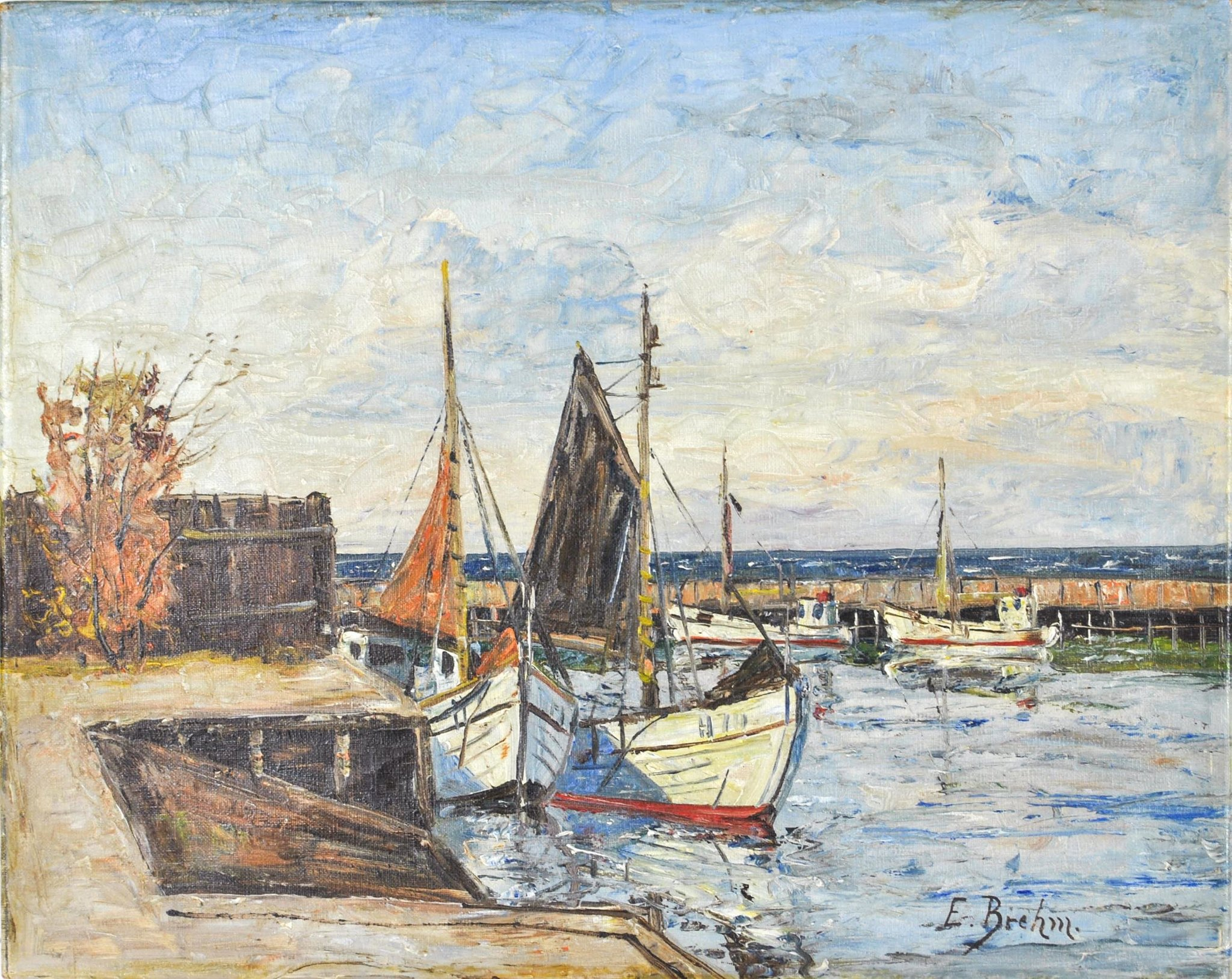 Harbor Scene Fishing Boats Oil Painting by E. Brehm 19th Century ...