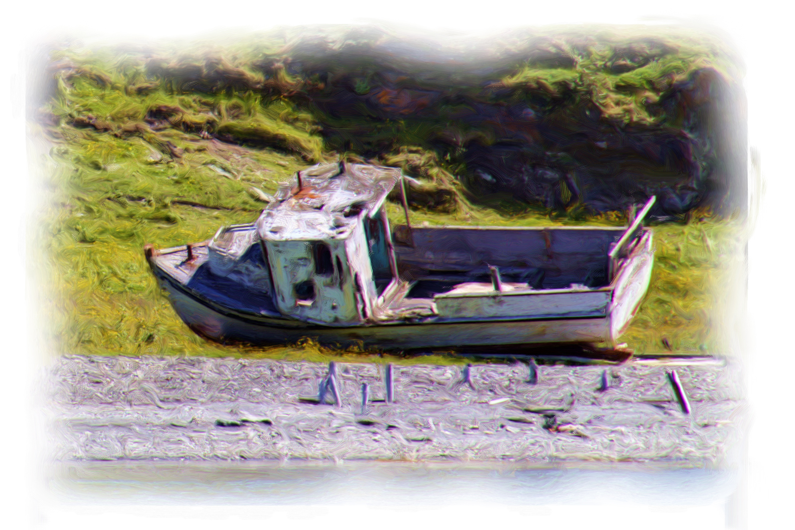 Boat oil painting photo