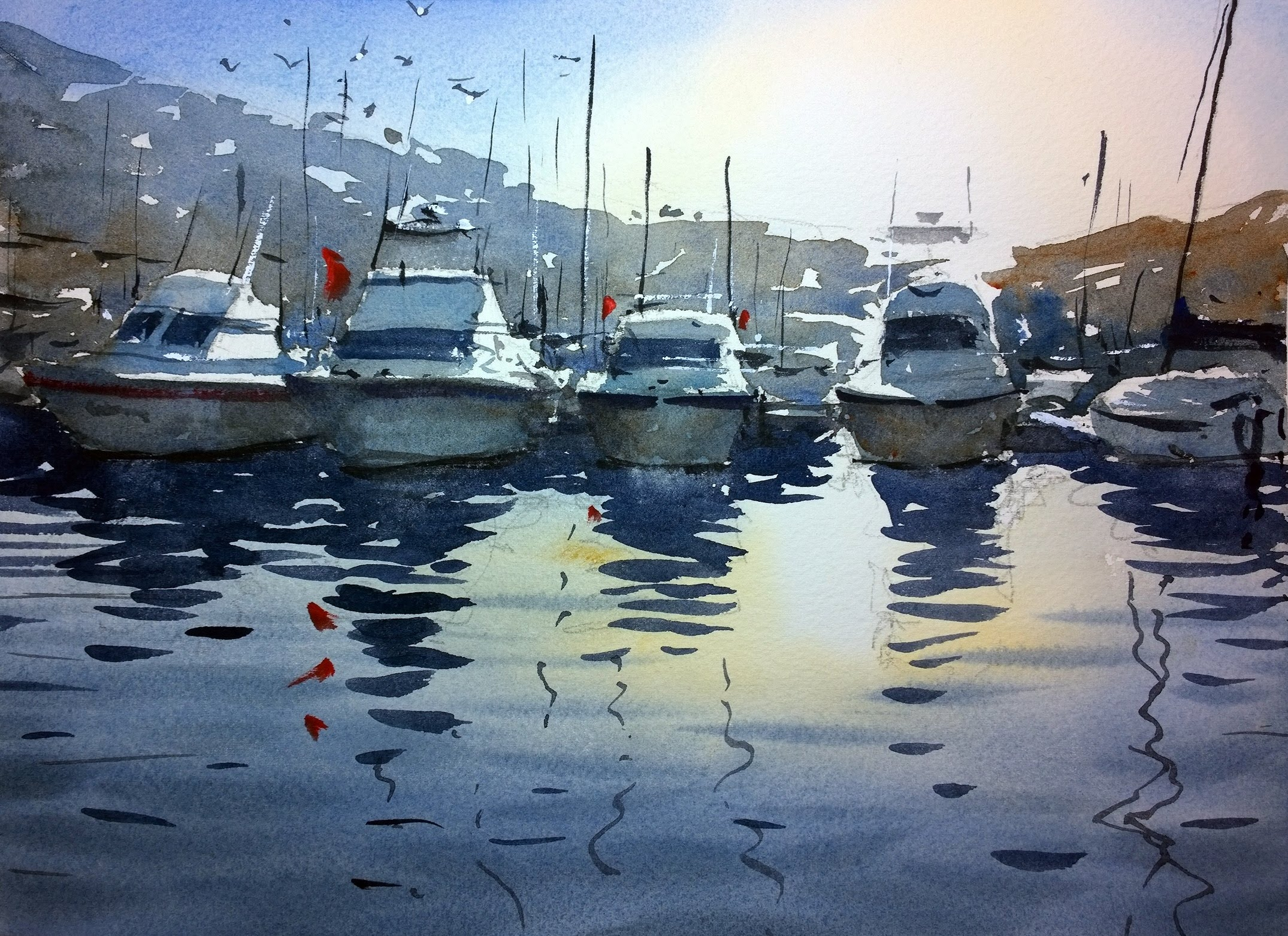Watercolour demonstration - How to paint boats, water and ...
