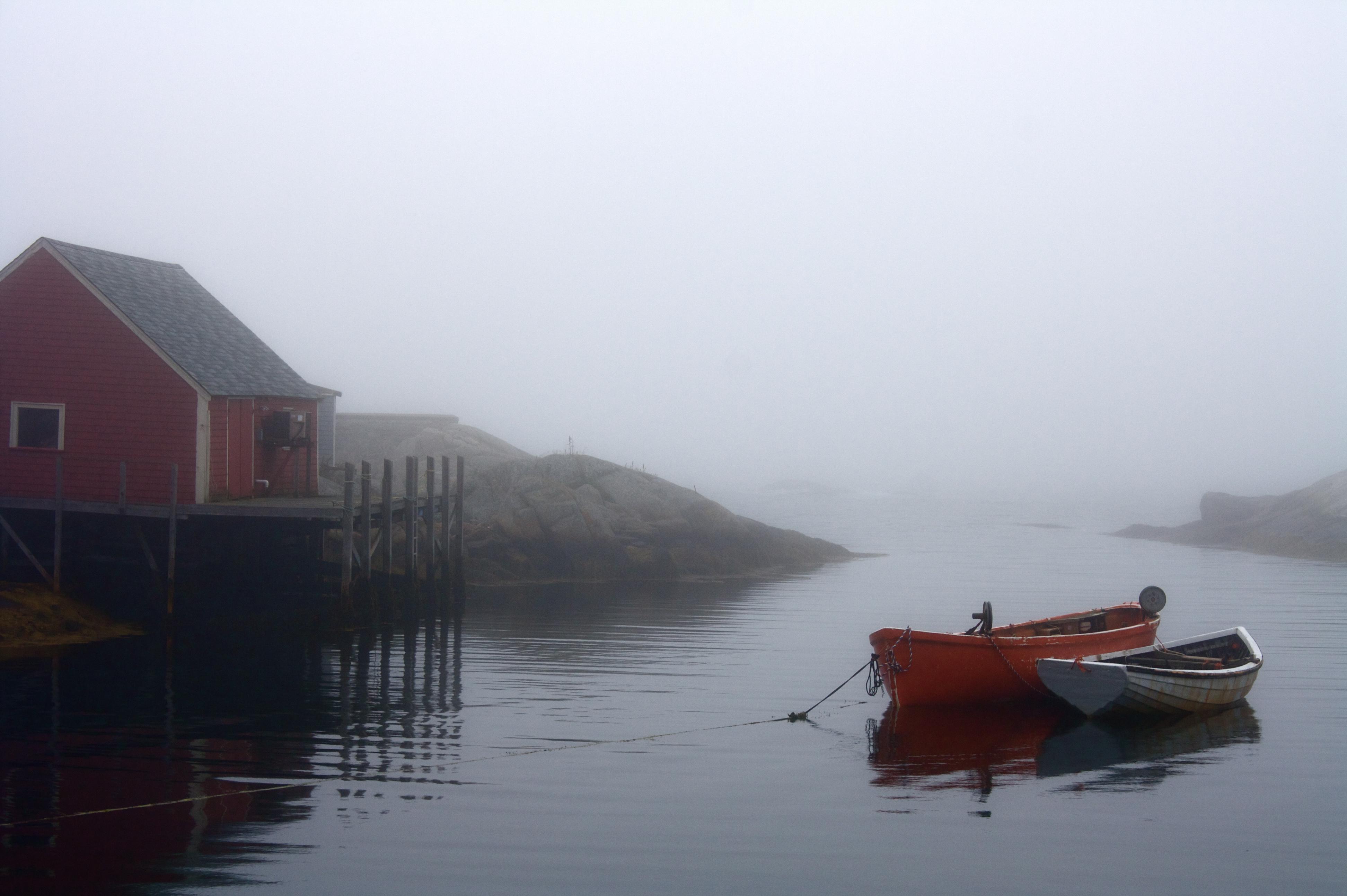 Boats, Fishing, Fog, Harbor, Haze, HQ Photo