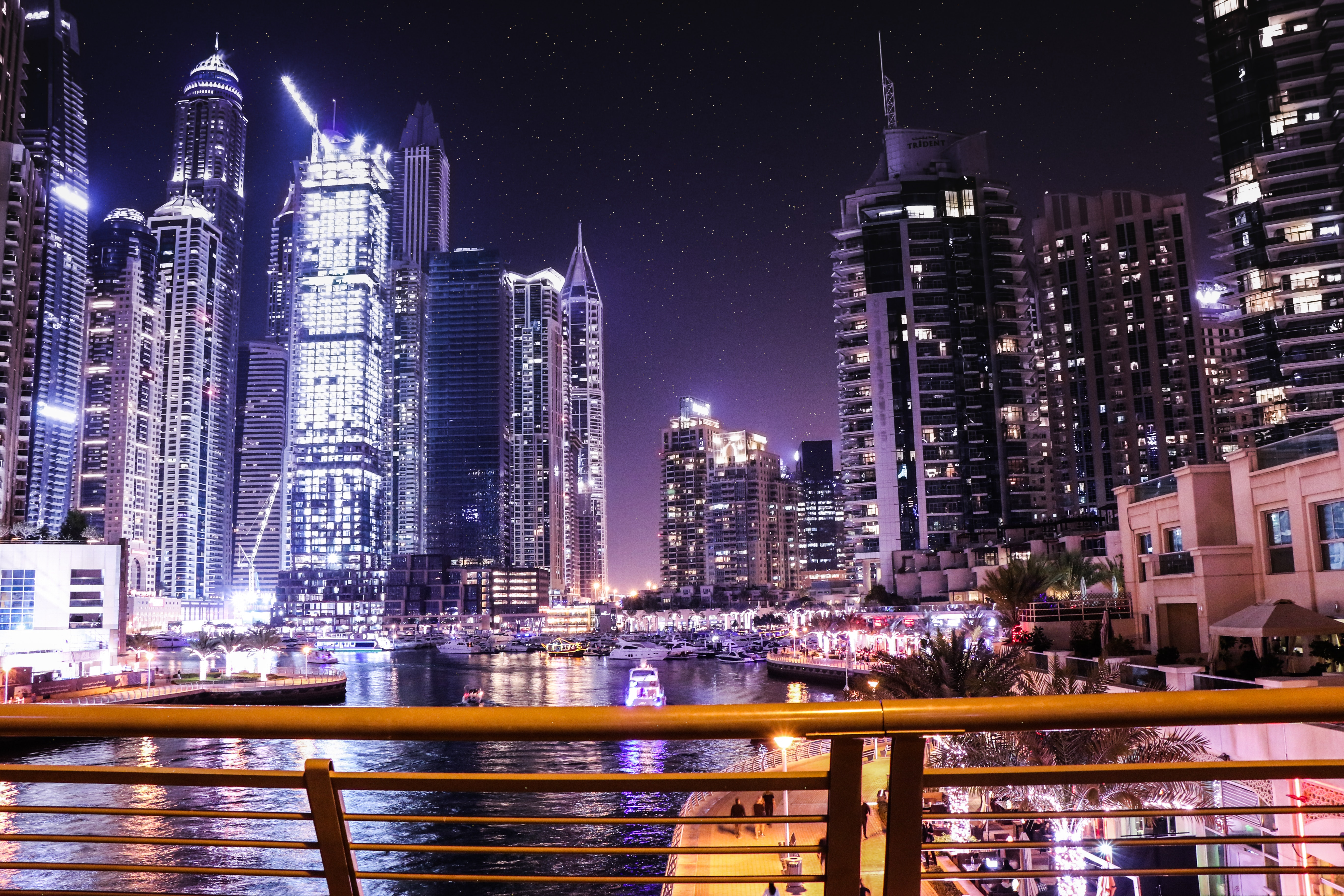 Boats on Body of Water Surrounded by High Rise Buildings, Architectural design, Ship, Night life, Night lights, HQ Photo