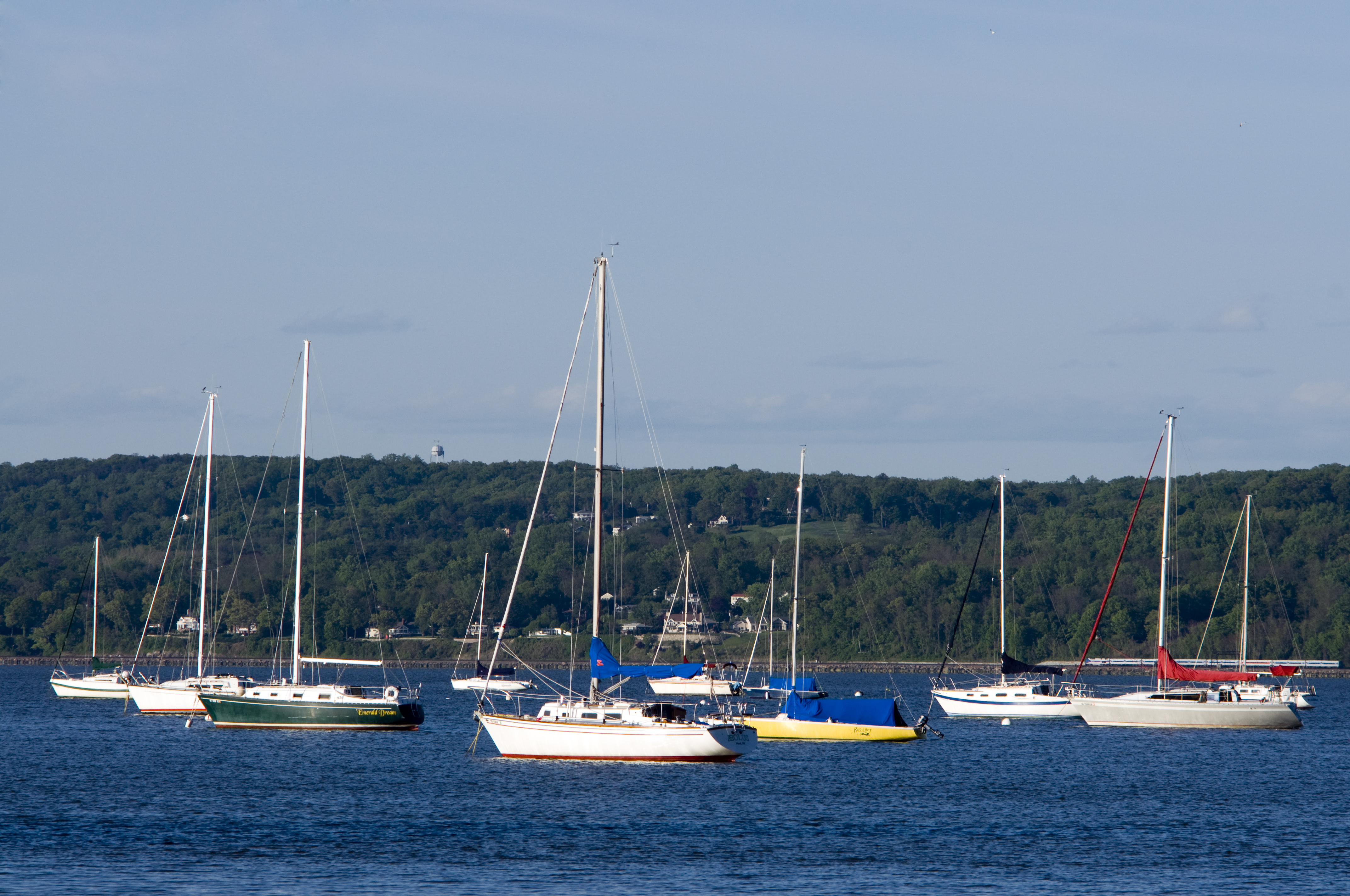 Boats on the Hudson, Blue, Boats, Foliage, Green, HQ Photo