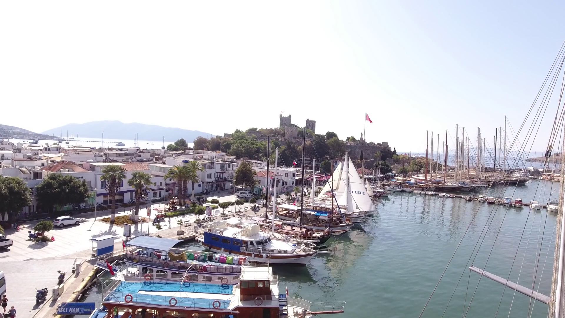 Bodrum, TURKEY - October 2016: Marina castle aerial yacht business ...