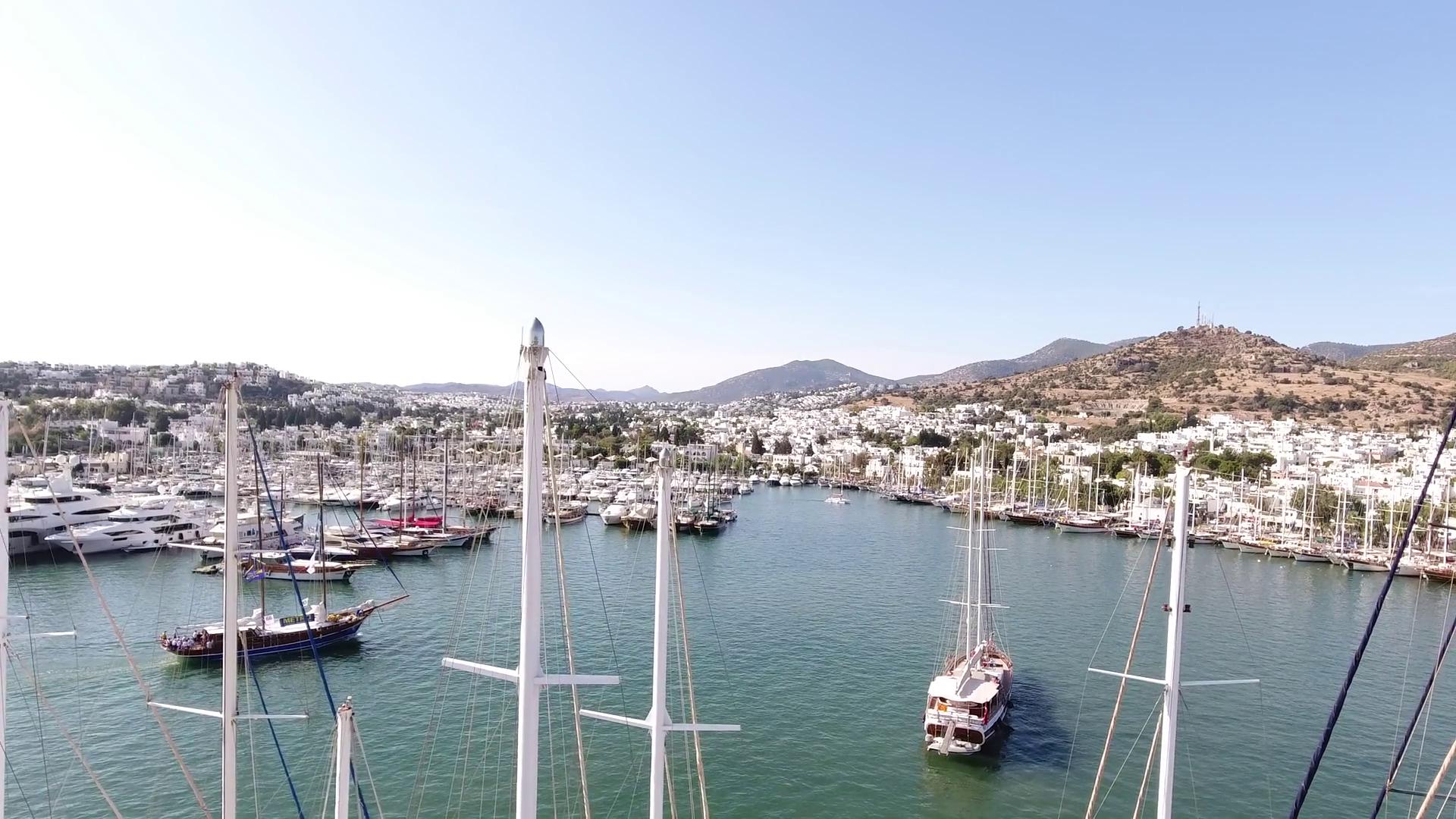 Bodrum, TURKEY - October 2016: Marina aerial yacht business boat ...