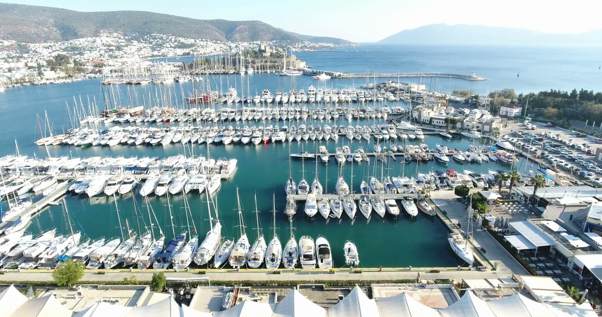Nice Bodrum Aerial Marina and Castle Stock Video Footage - VideoBlocks