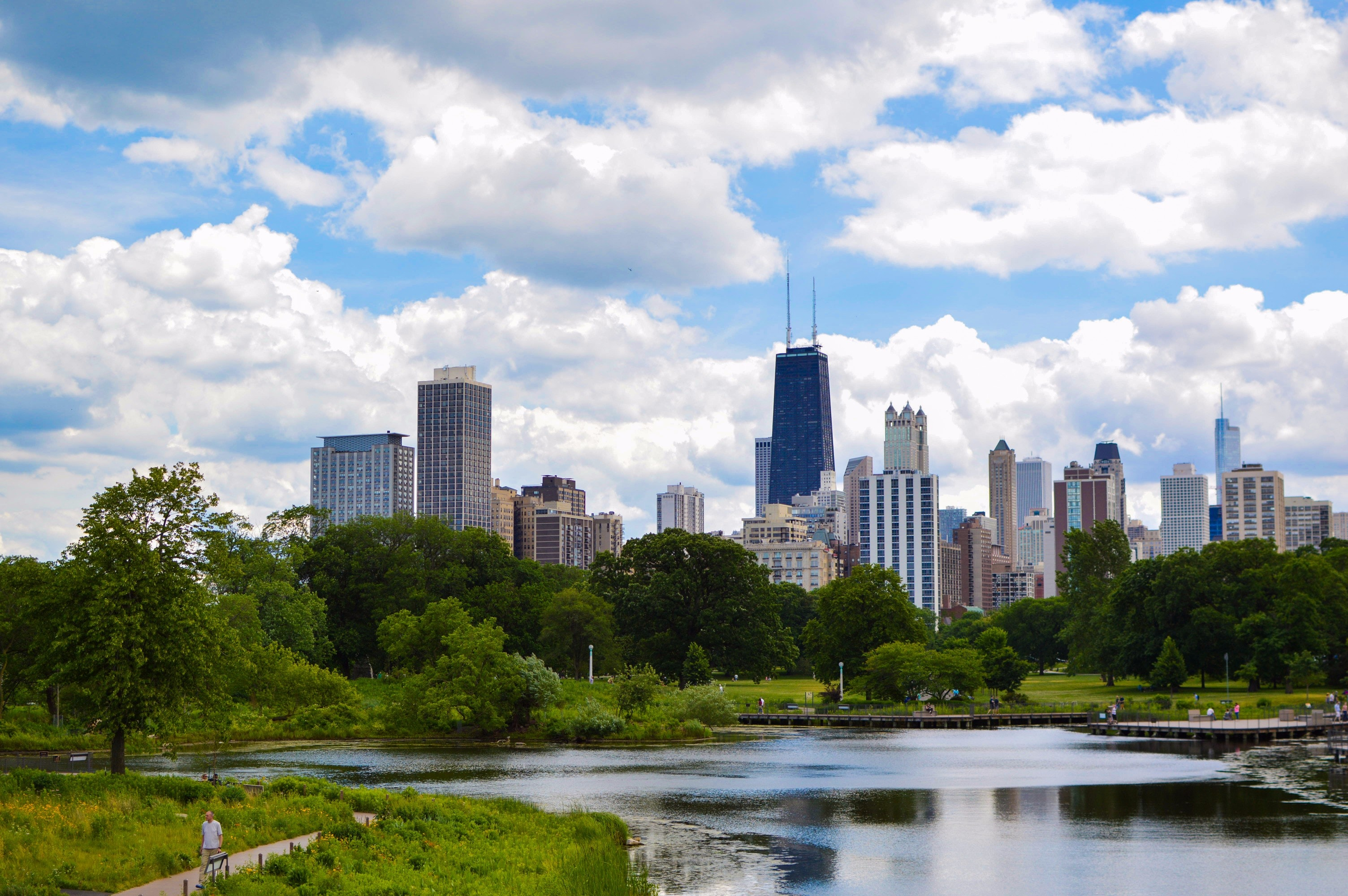 Body of water, forest, then city buildings photo