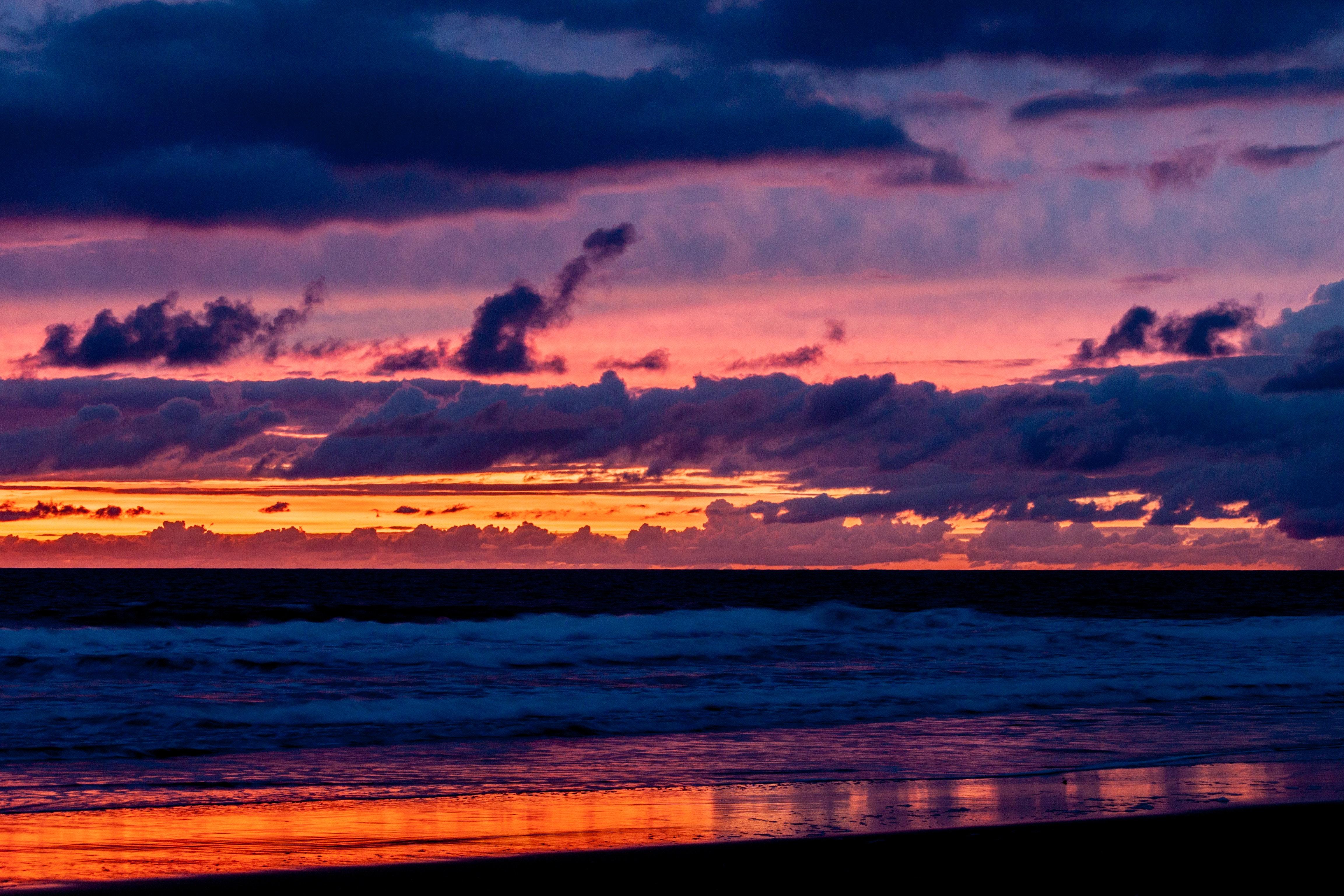 Body of Water over the Horizon, Beach, Scenic, Water, Sunset, HQ Photo