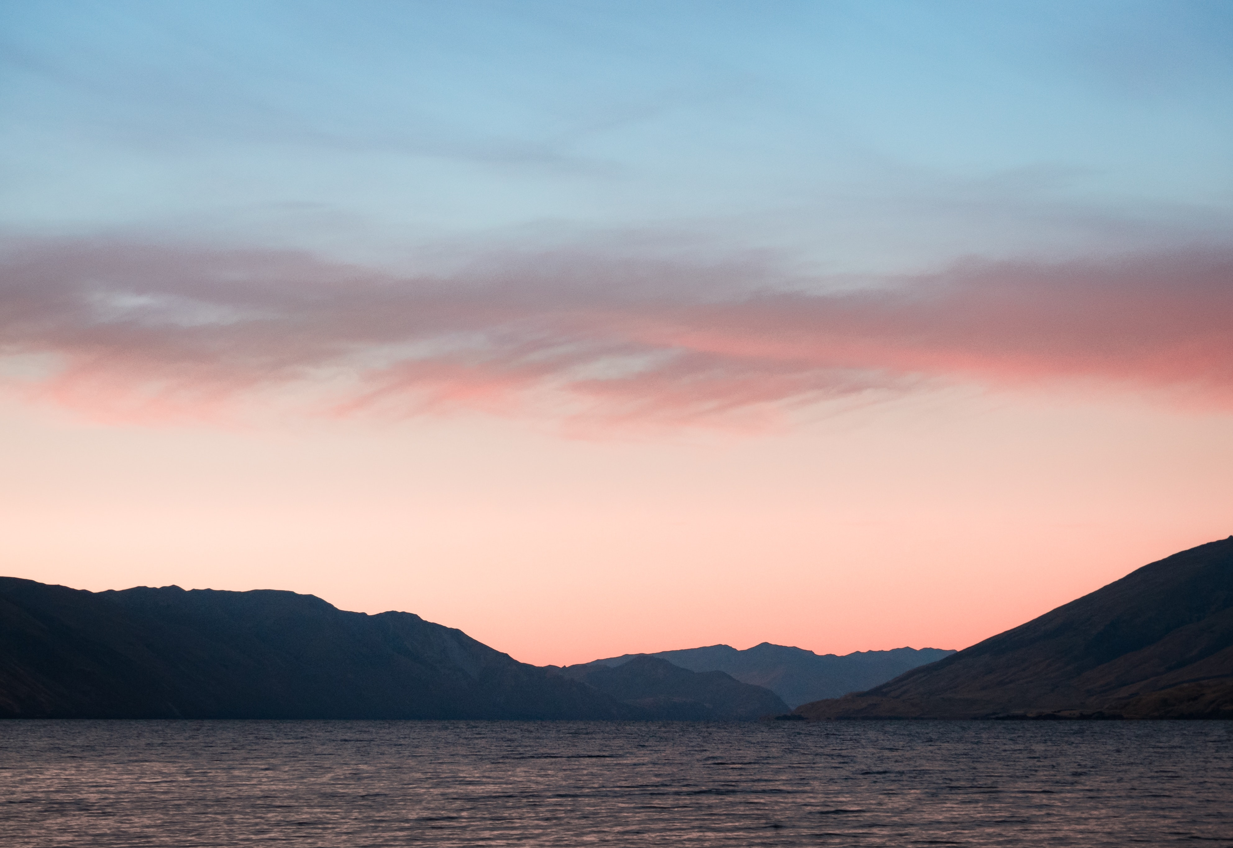 Body of Water With Mountains on Side, Background, Nature, Sunset, Sky, HQ Photo