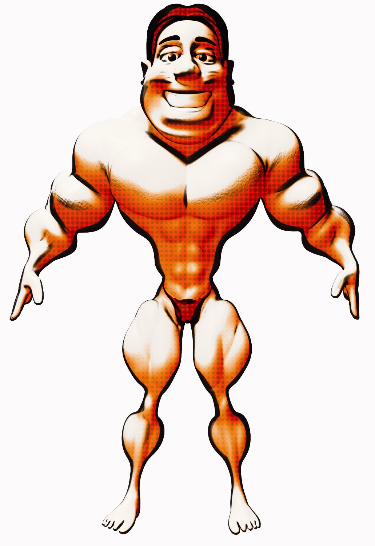 Bodybuilder, draw 6 pack abs