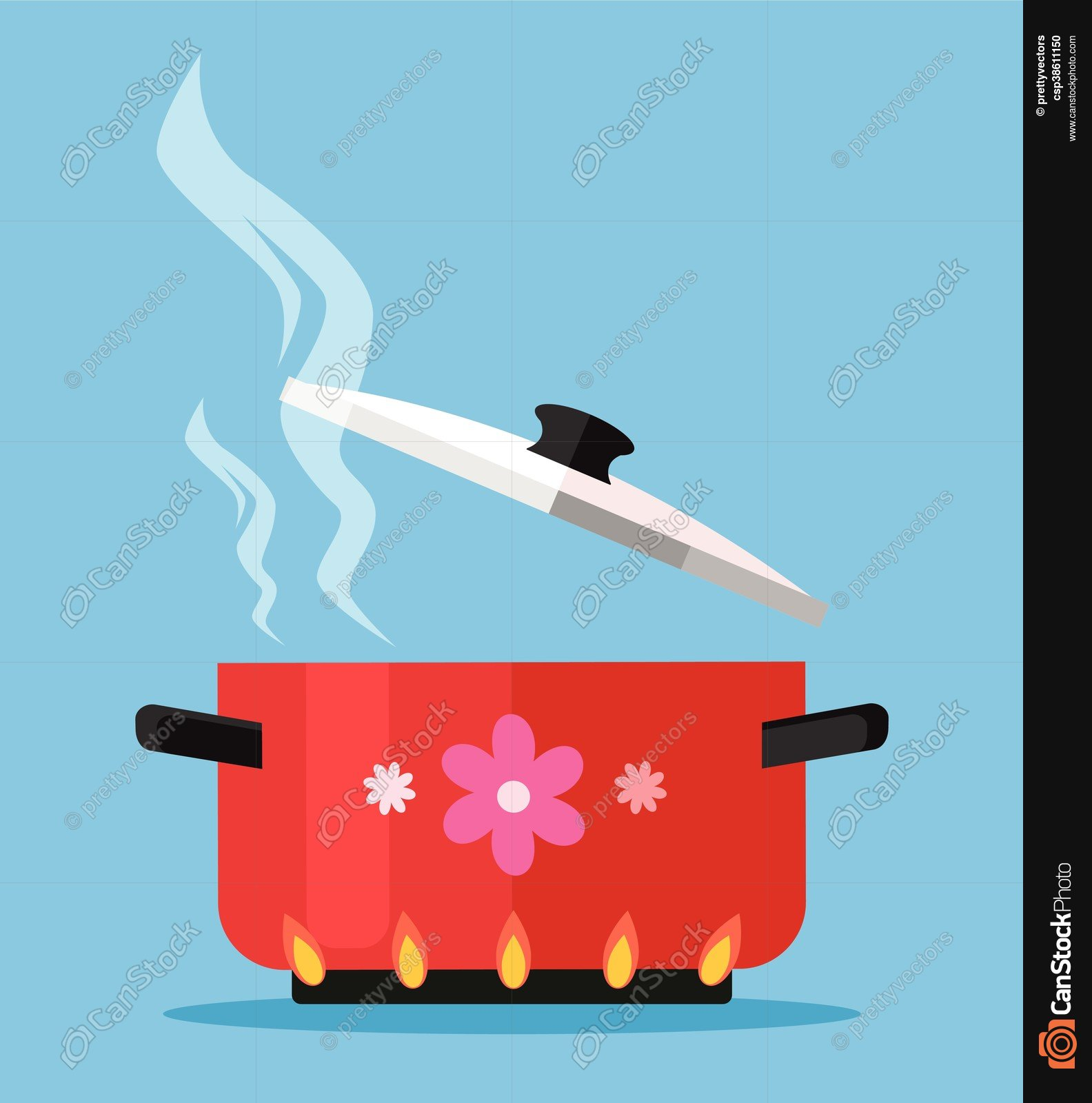 Boiling water in pan. vector flat cartoon illustration clipart ...