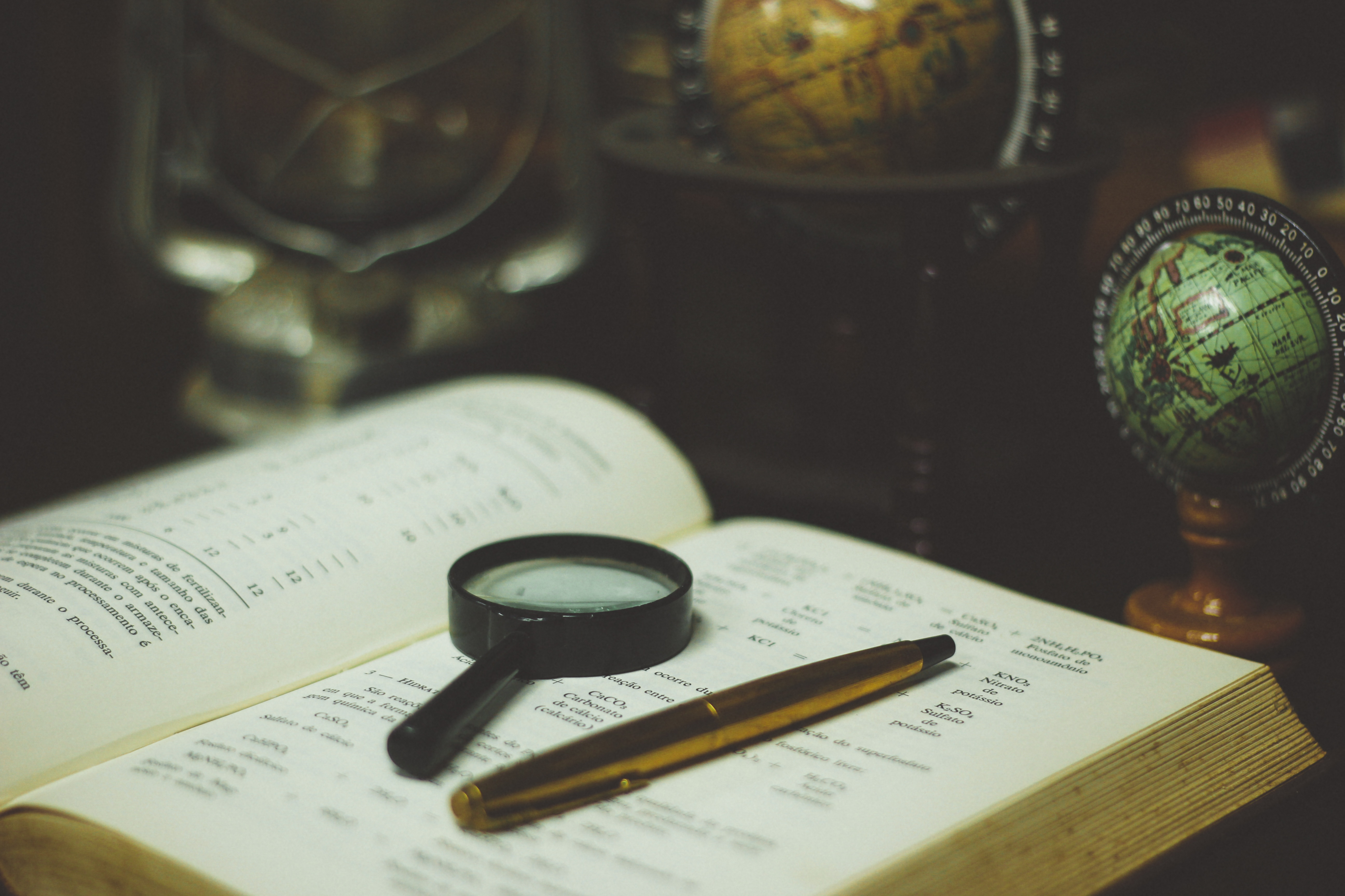 Book, Glass, Globe, Magnifying, Map, HQ Photo