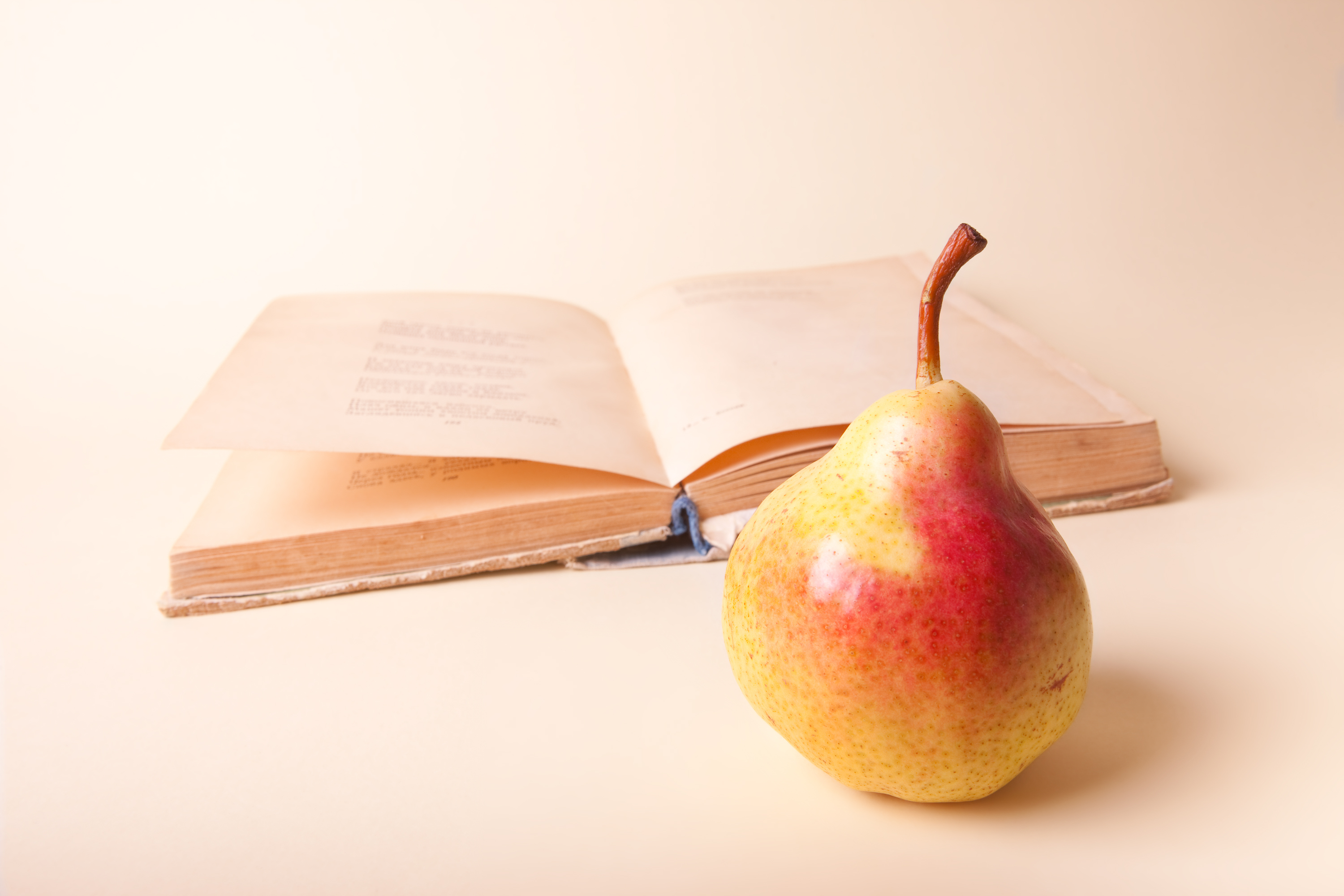 book and pear, Back-to-school, Book, Concept, Education, HQ Photo