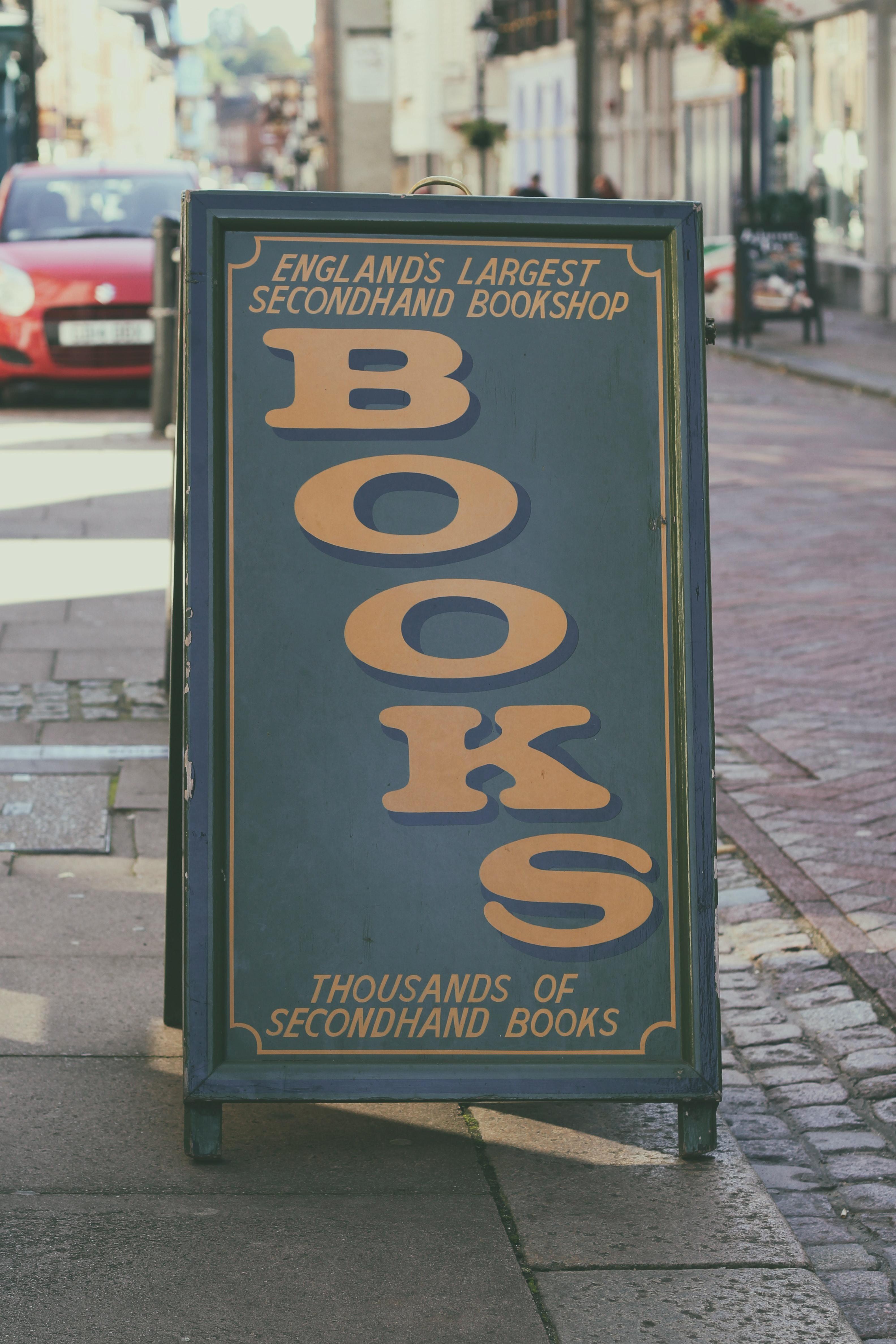 Books Signage, Pavement, Transportation system, Street, Stores, HQ Photo